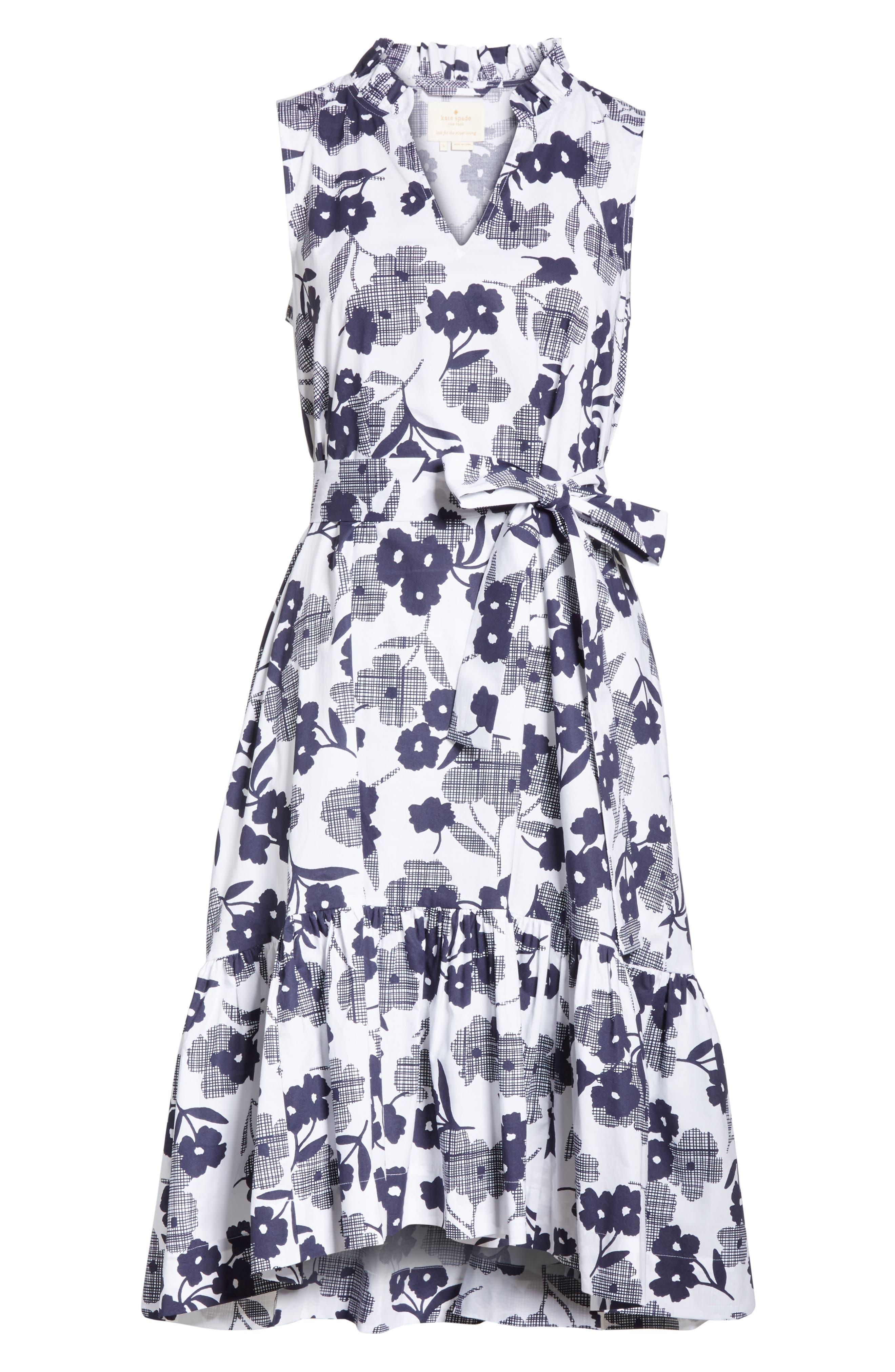 shadows fit & flare poplin dress,                             Alternate thumbnail 6, color,                             Rich Navy