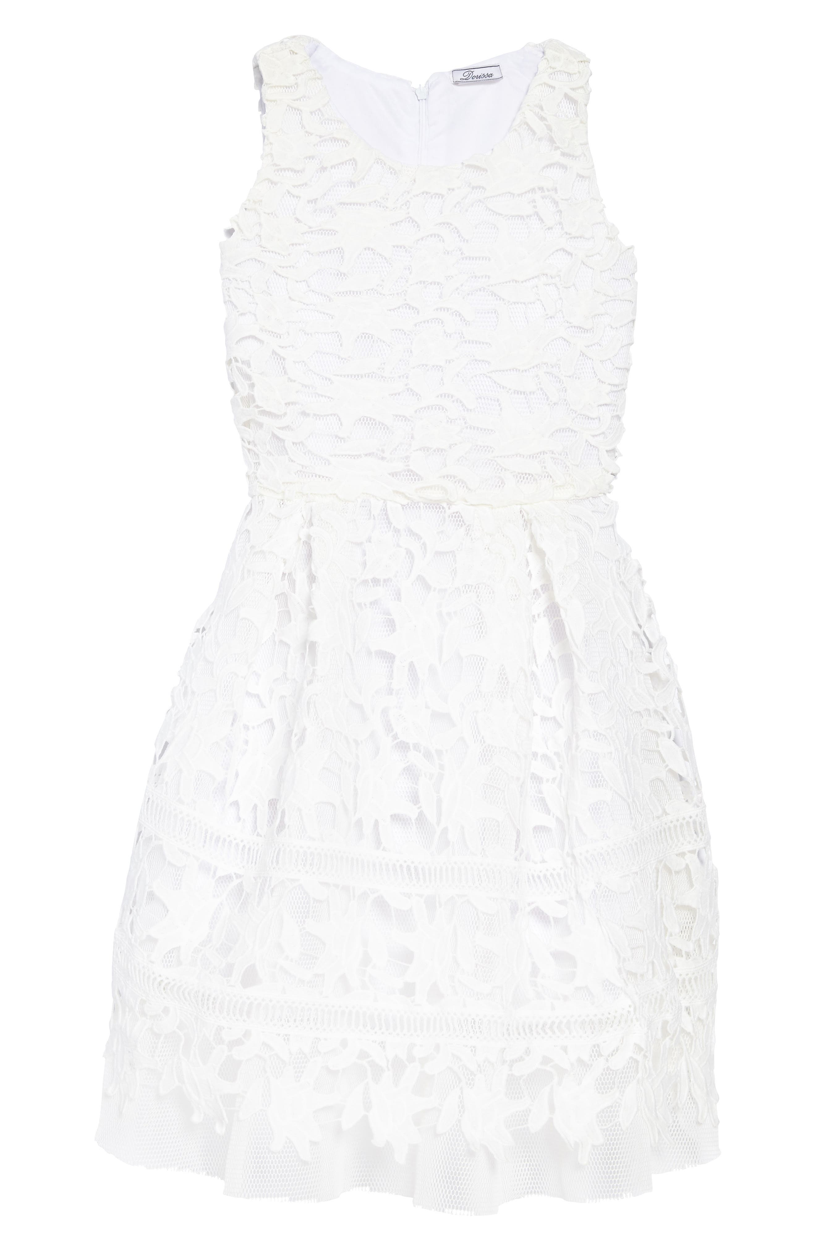 Nathalie Lace Dress,                         Main,                         color, White