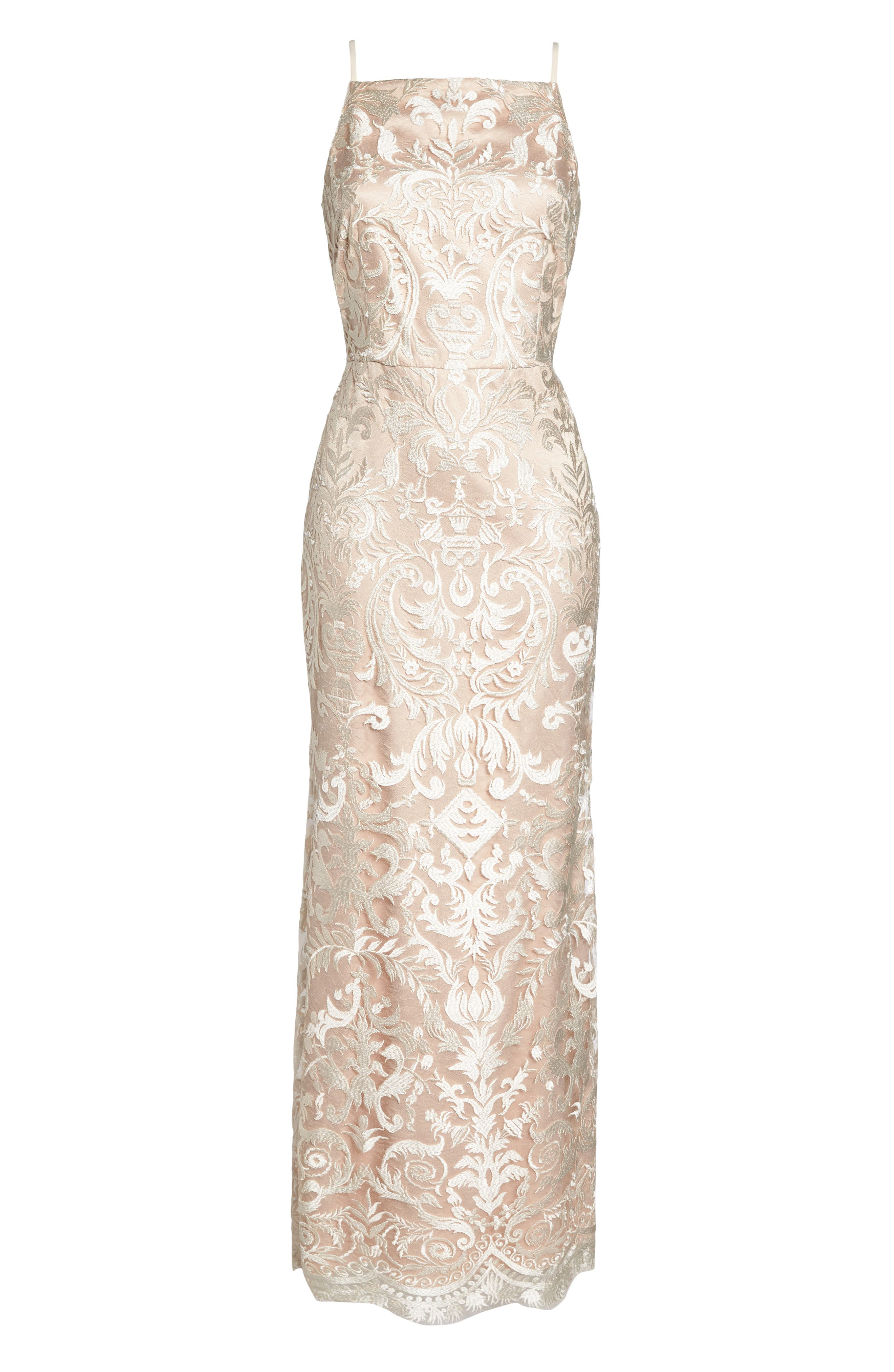 Sleeveless Embroidered Gown,                             Alternate thumbnail 7, color,                             Champagne