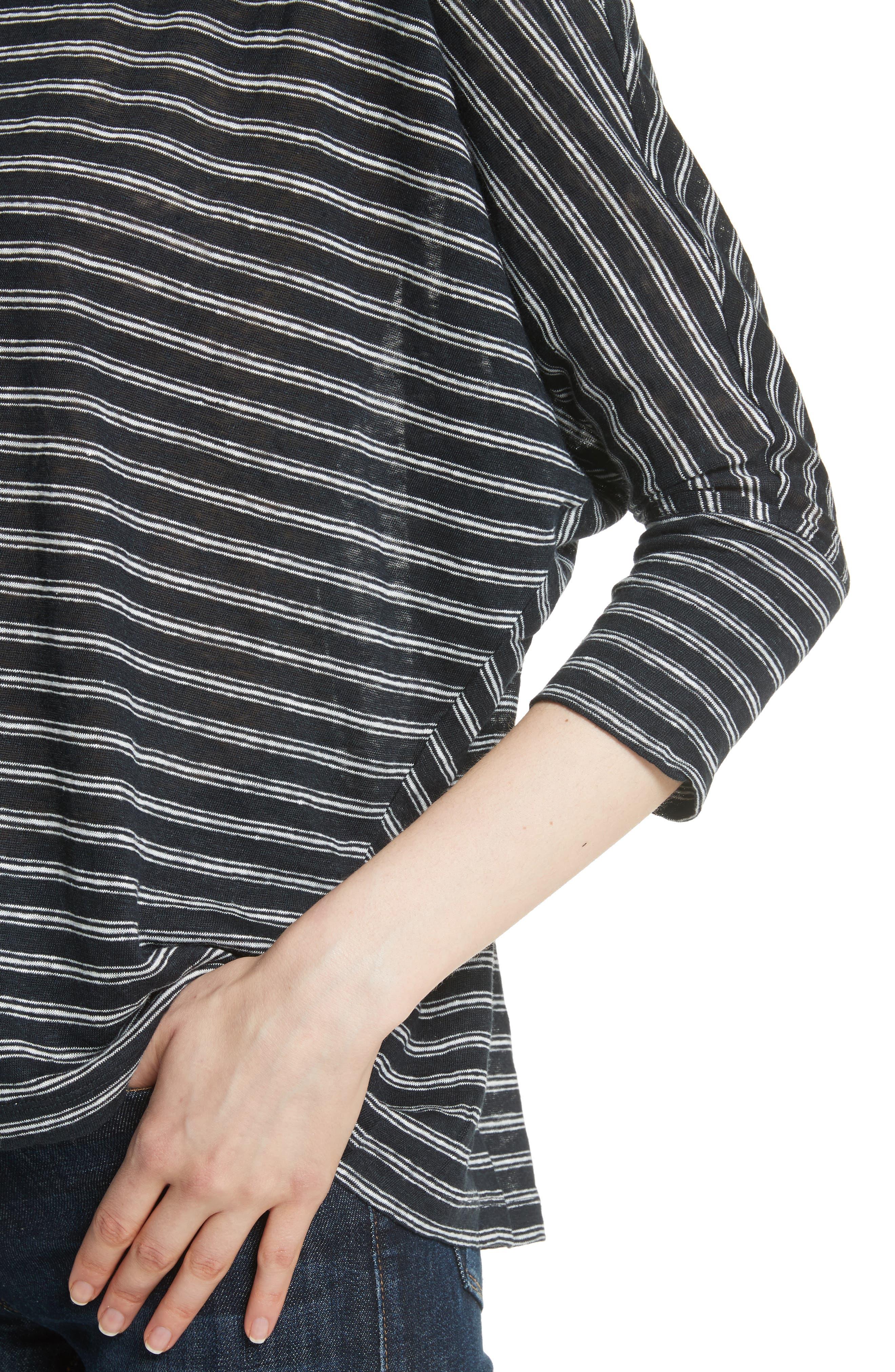 Stripe Linen Knit Top,                             Alternate thumbnail 4, color,                             Caviar/ Porcelain