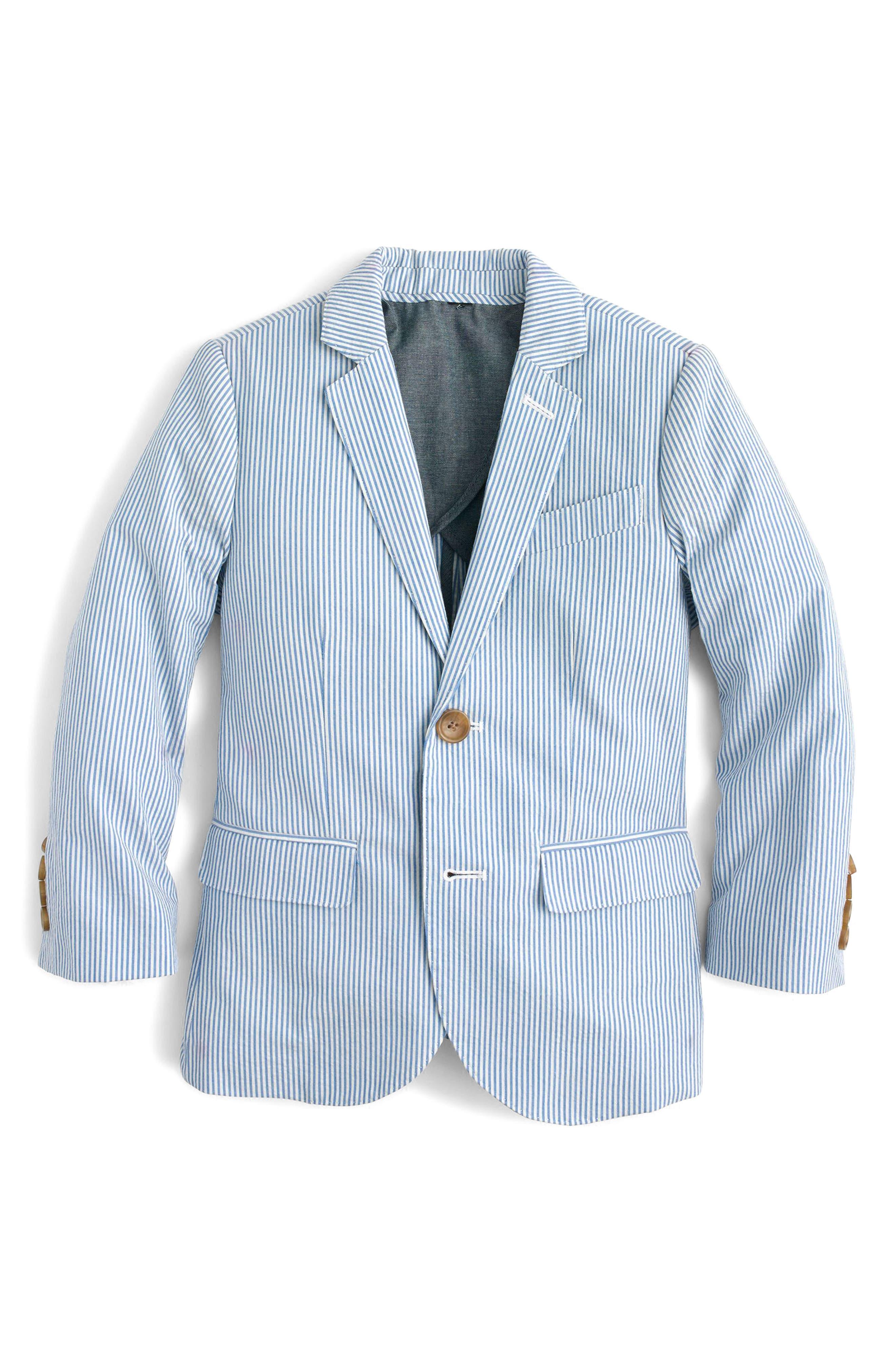 Ludlow Seersucker Suit Jacket,                         Main,                         color, Crisp Azure White
