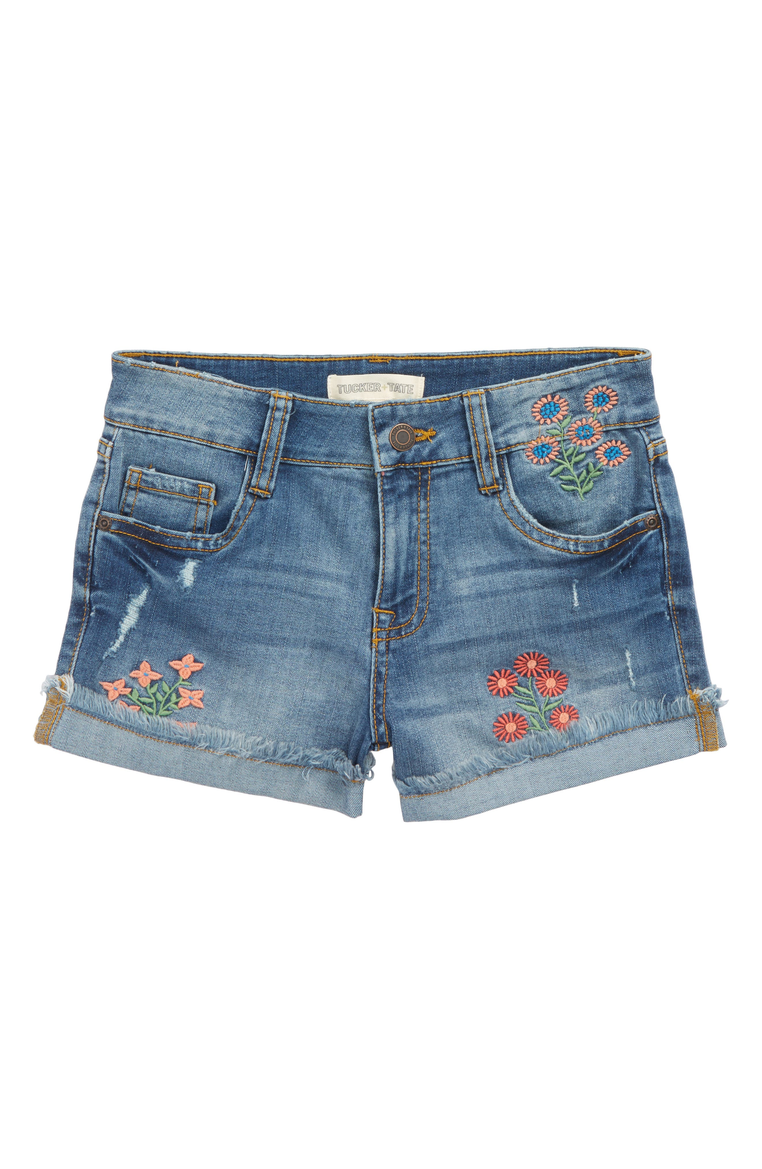 Flower Embroidered Denim Shorts,                             Main thumbnail 1, color,                             Lake Wash