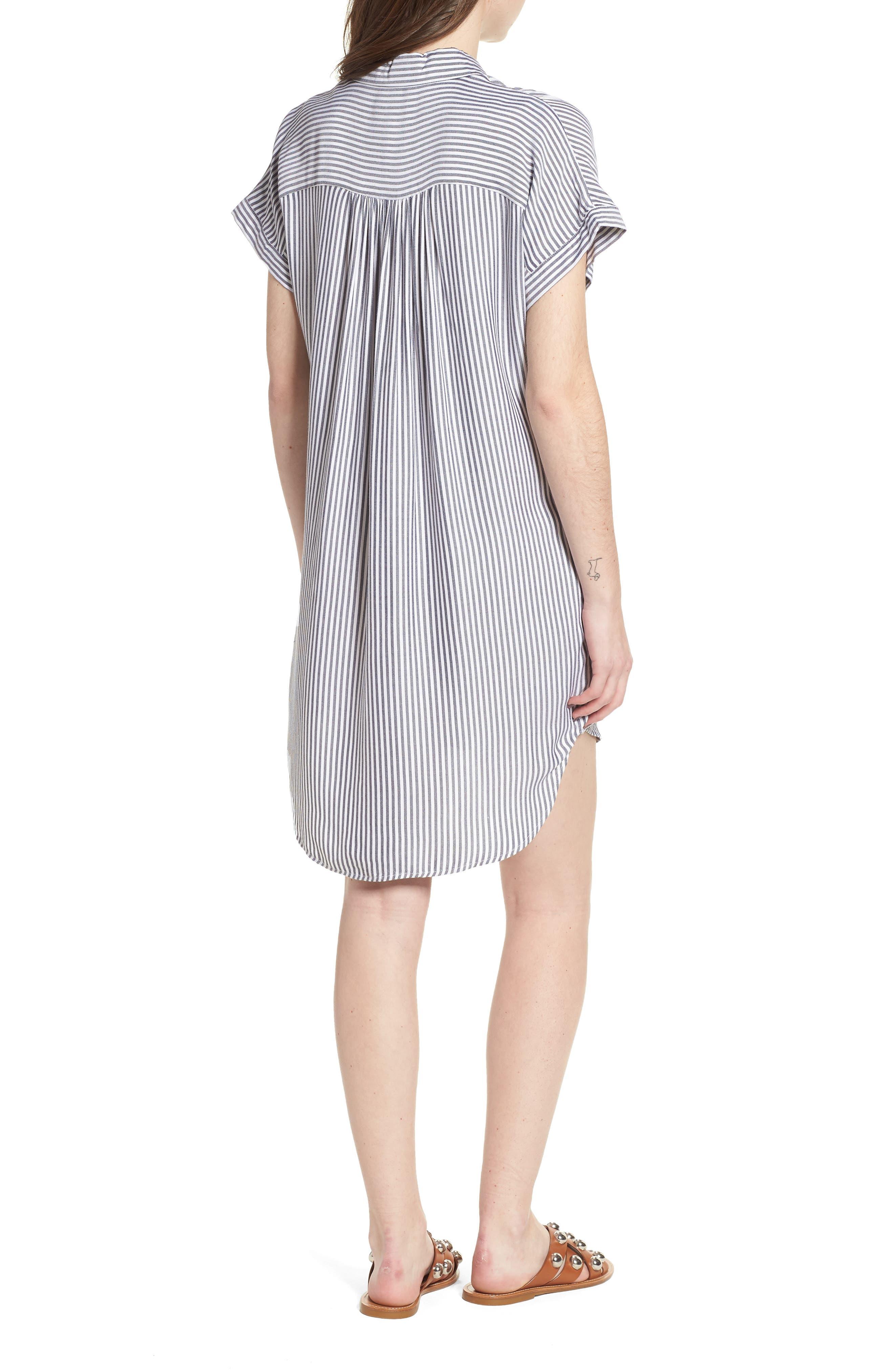 Skipper Stripe Shirtdress,                             Alternate thumbnail 2, color,                             Navy White