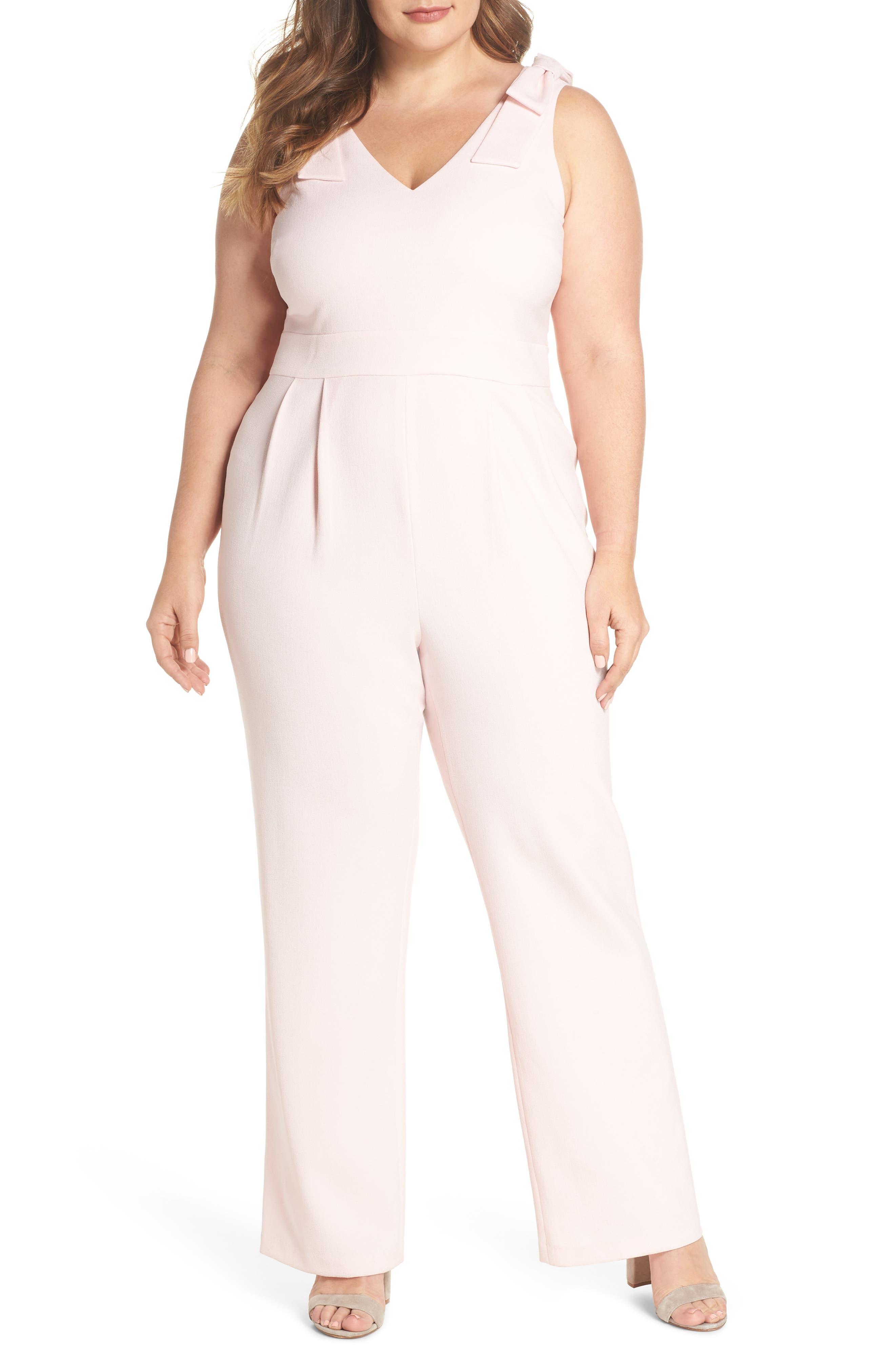Bow Shoulder Jumpsuit,                         Main,                         color, Pink Potpourri