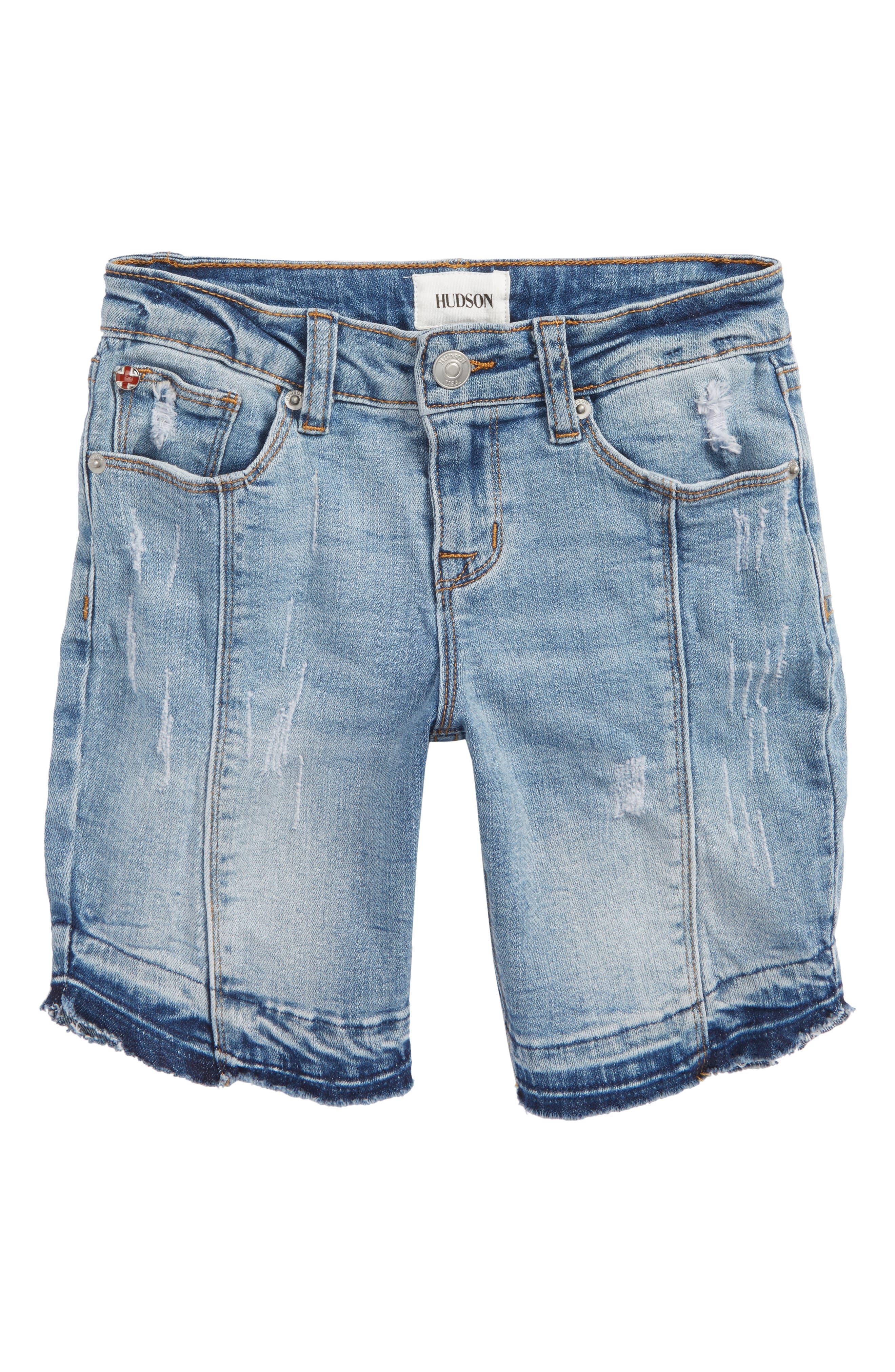 Release Hem Distressed Denim Shorts,                             Main thumbnail 1, color,                             Cali Blue