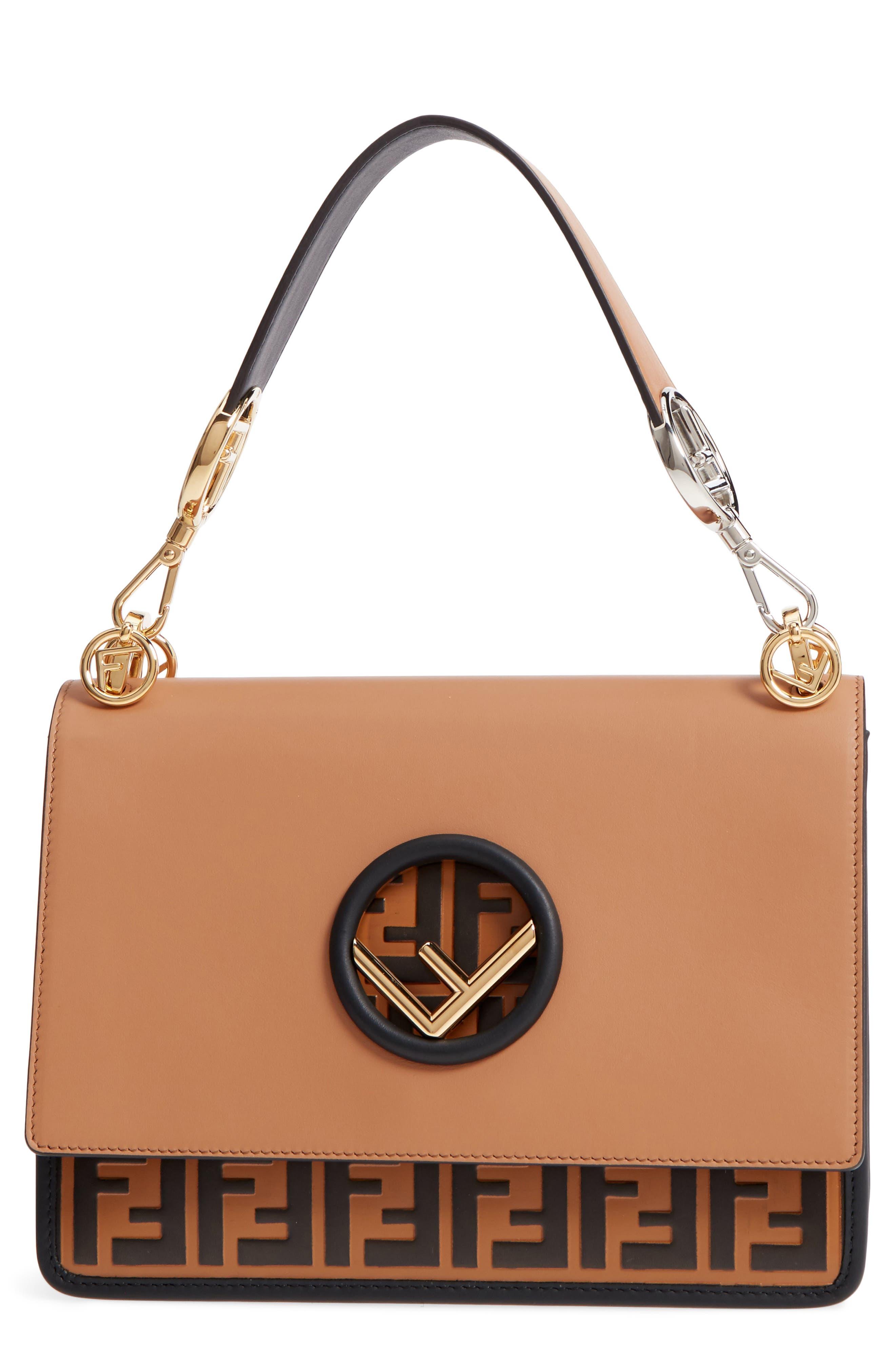Fendi Small Kan I Logo Leather Shoulder Bag