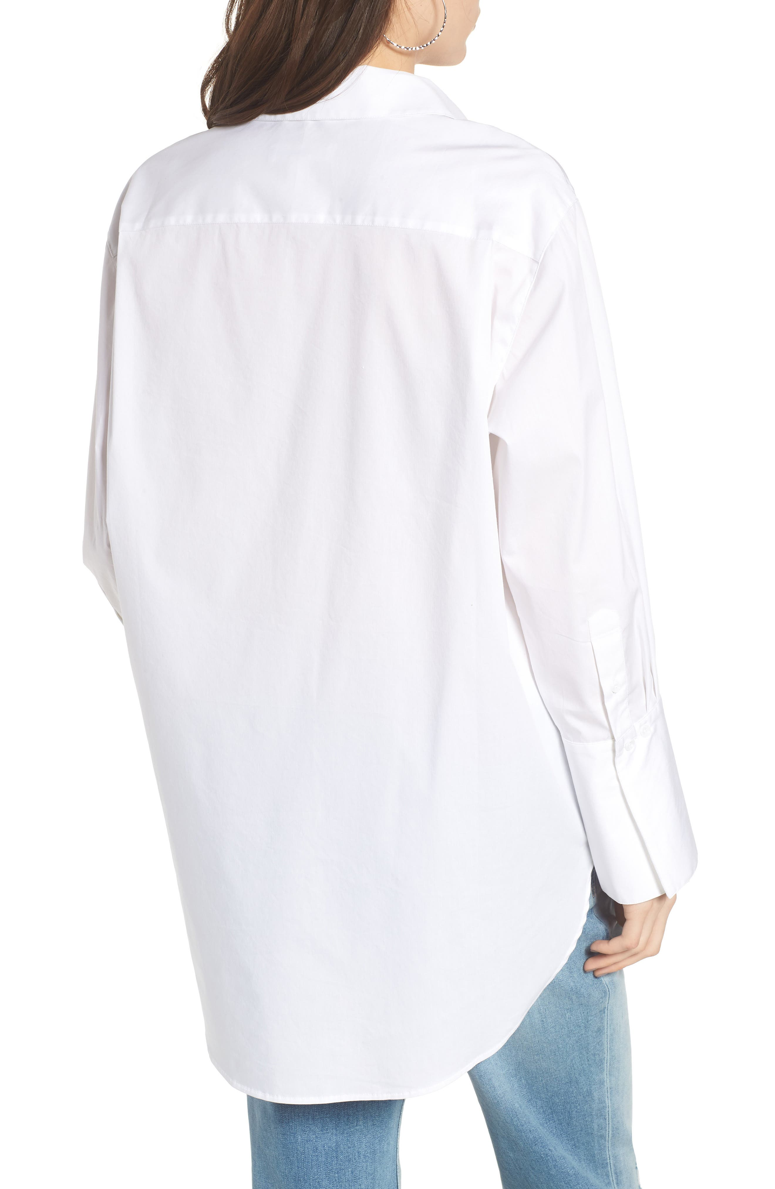 Loose Sleeve Poplin Tunic Shirt,                             Alternate thumbnail 2, color,                             White