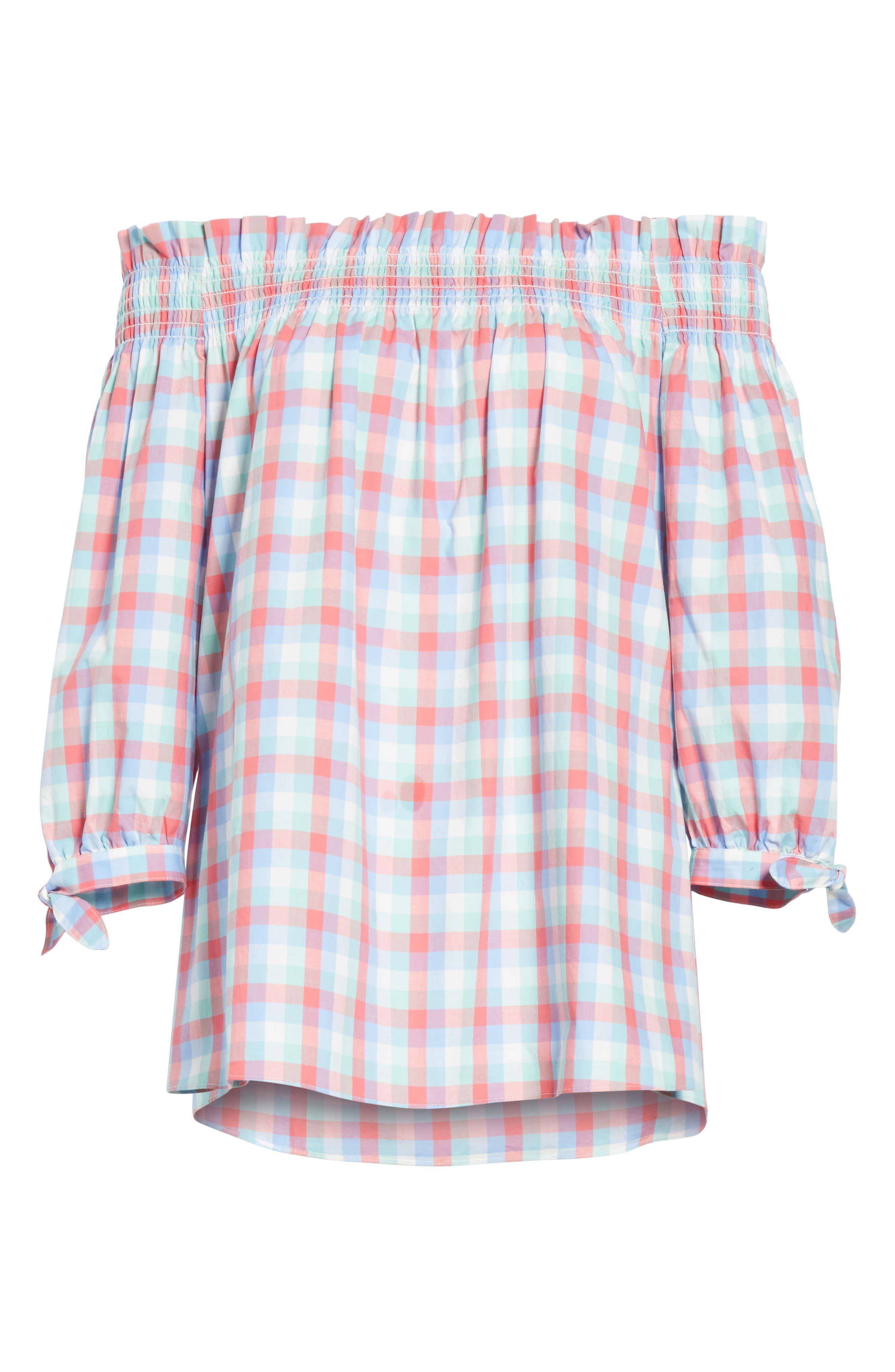 off the shoulder madras top,                             Alternate thumbnail 6, color,                             Multi