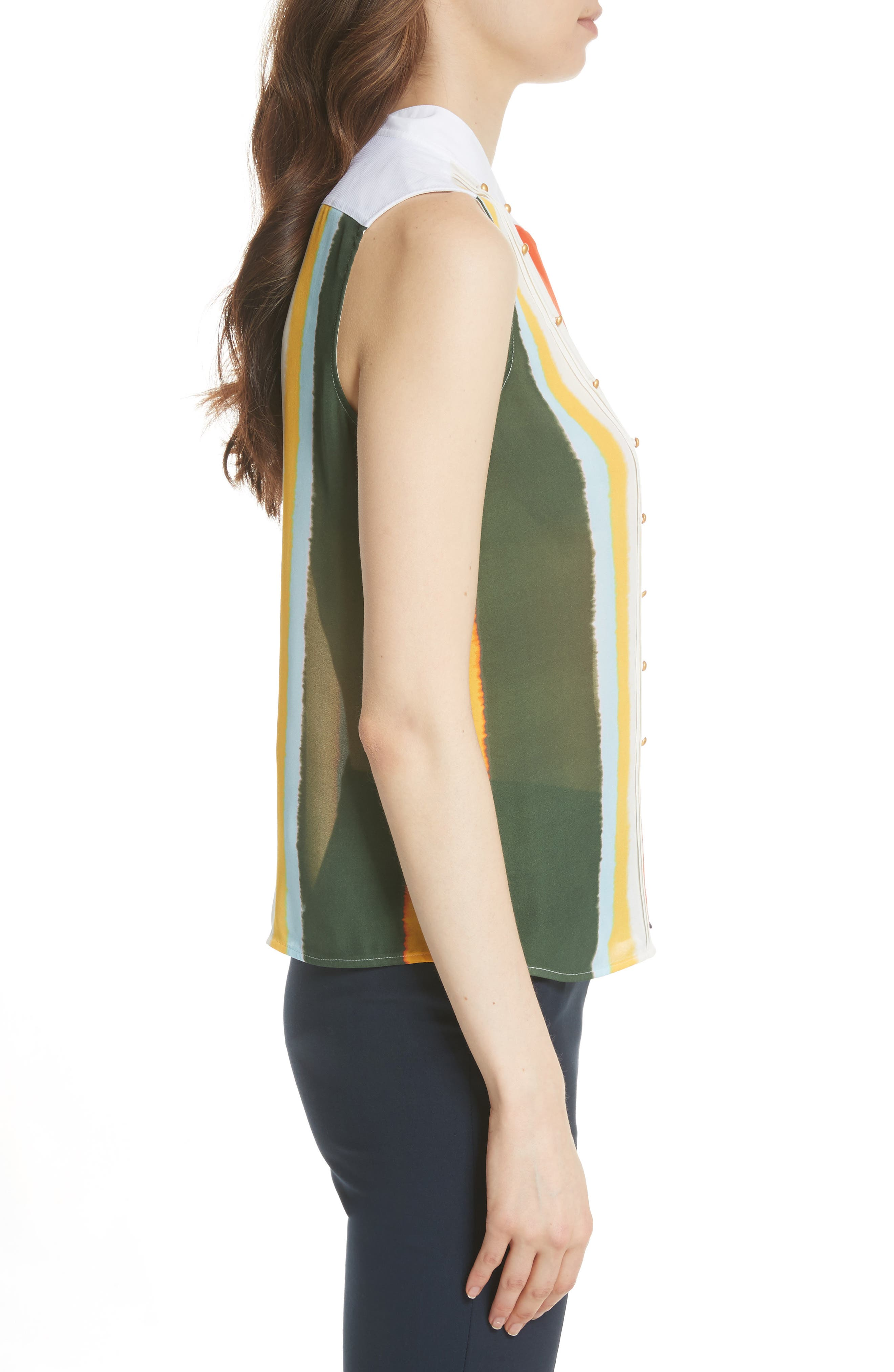 Bettina Studded Silk Georgette Top,                             Alternate thumbnail 3, color,                             Balloon Stripe