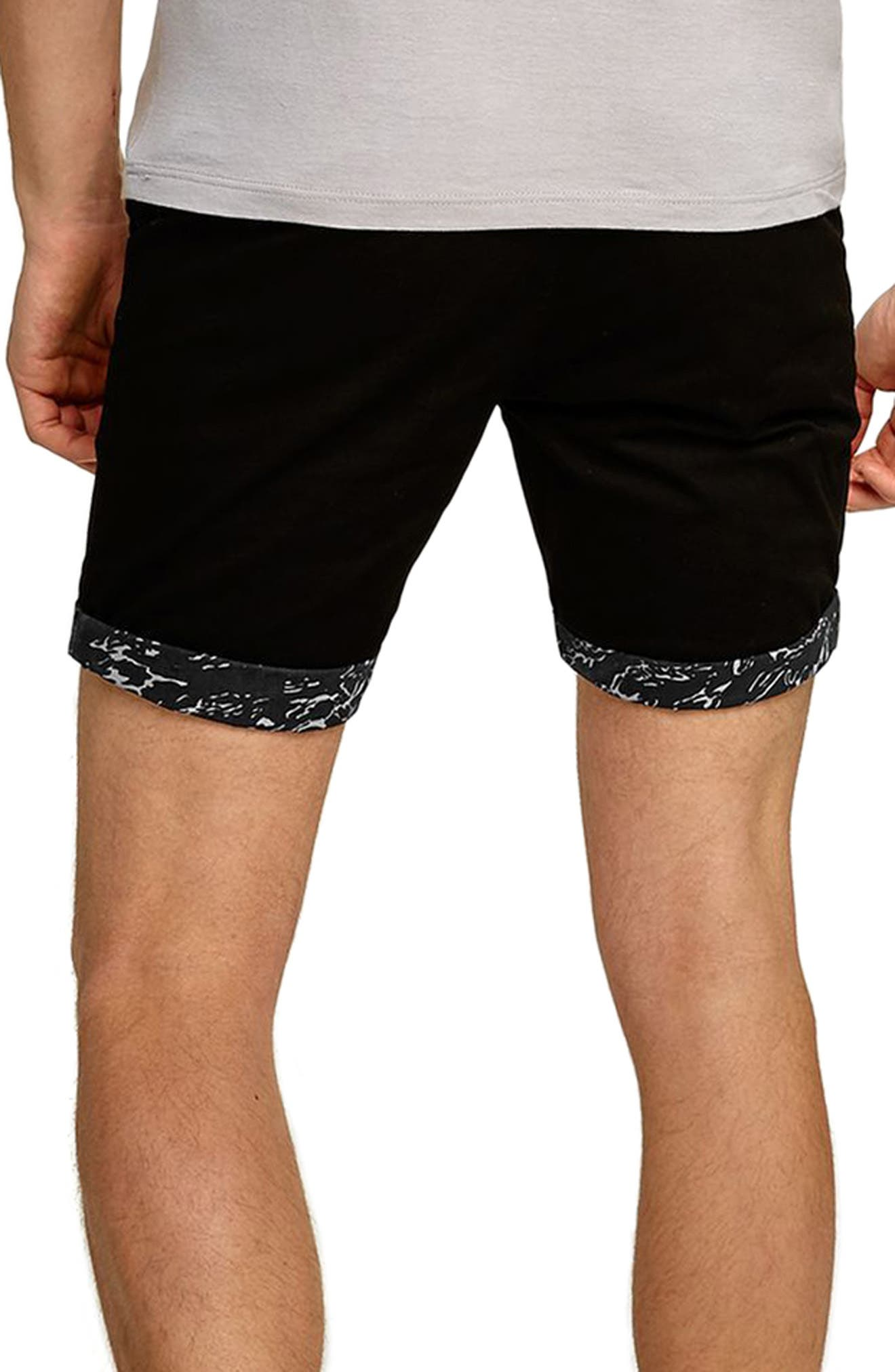 Stretch Skinny Fit Chino Shorts,                             Alternate thumbnail 2, color,                             Black Multi