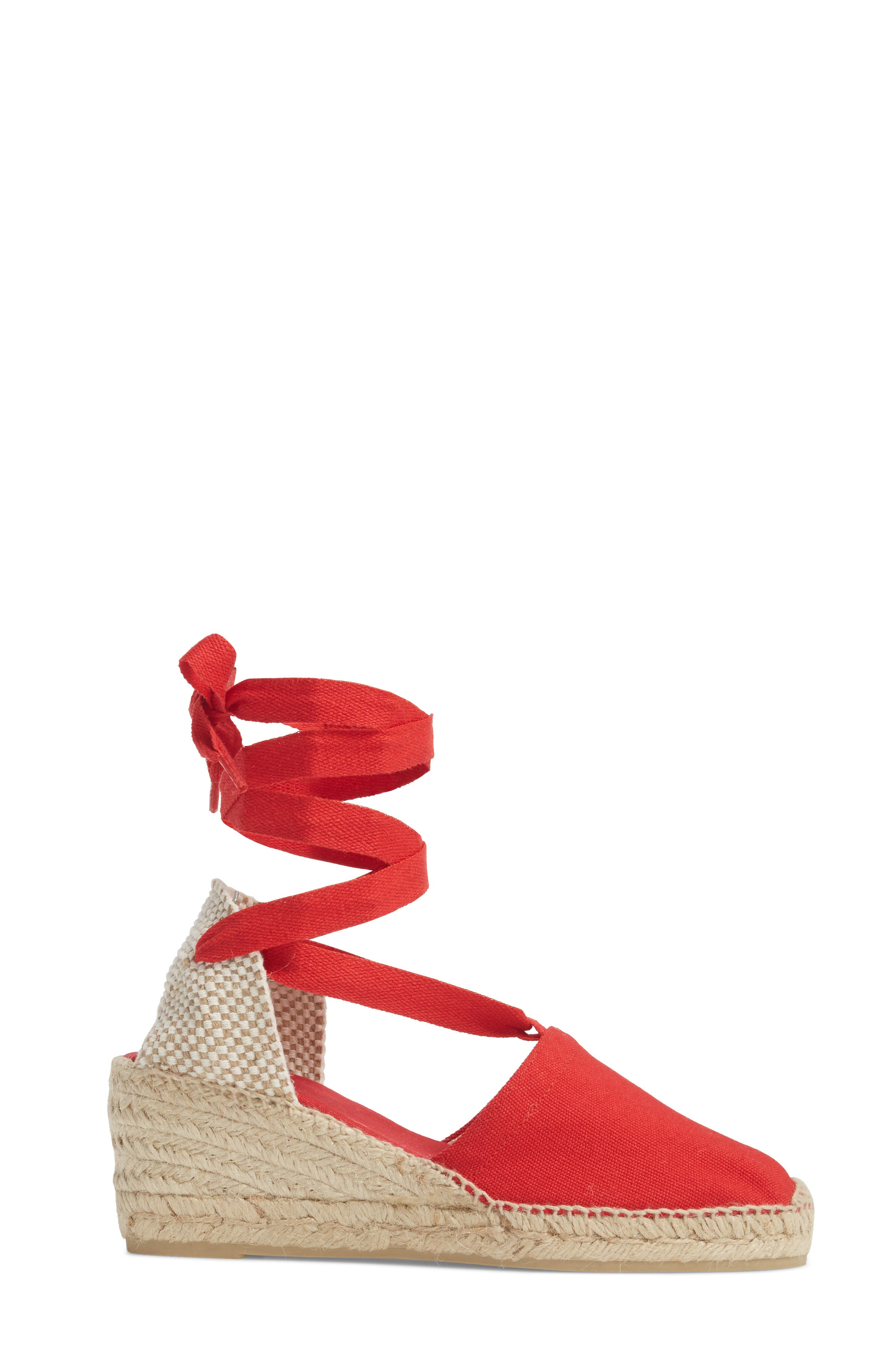 Valencia Wraparound Espadrille Wedge,                             Alternate thumbnail 3, color,                             Red Fabric