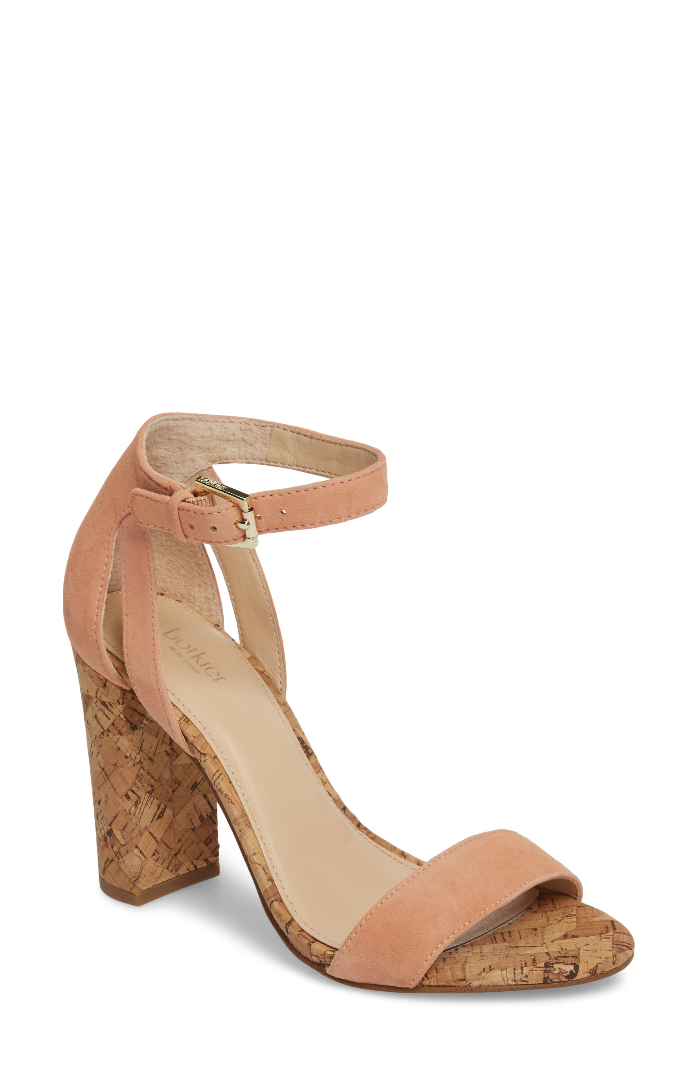Gianna Ankle Strap Sandal,                             Main thumbnail 1, color,                             Soft Peach Suede