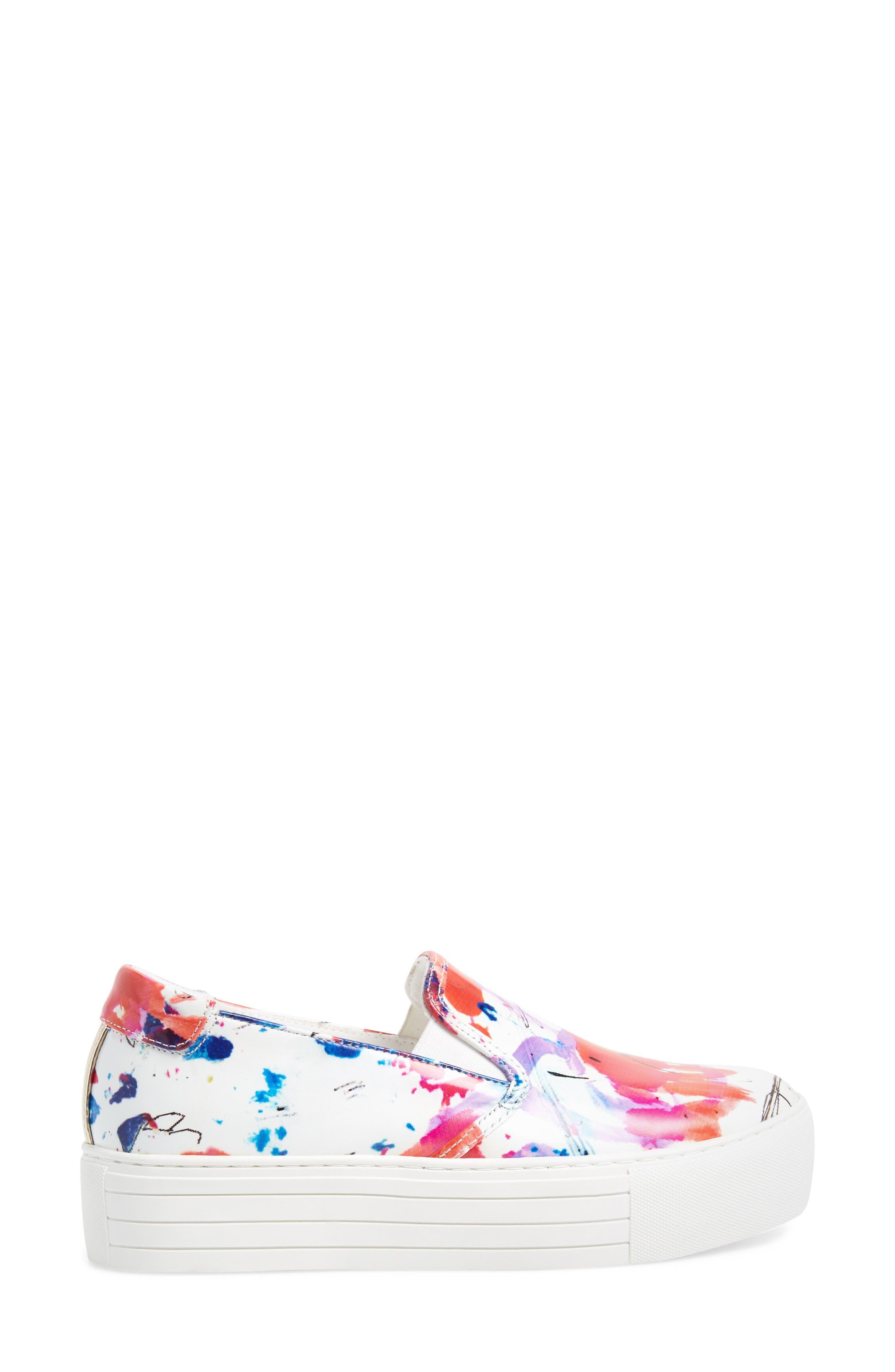 Joanie Slip-On Platform Sneaker,                             Alternate thumbnail 3, color,                             White Multi Print Leather
