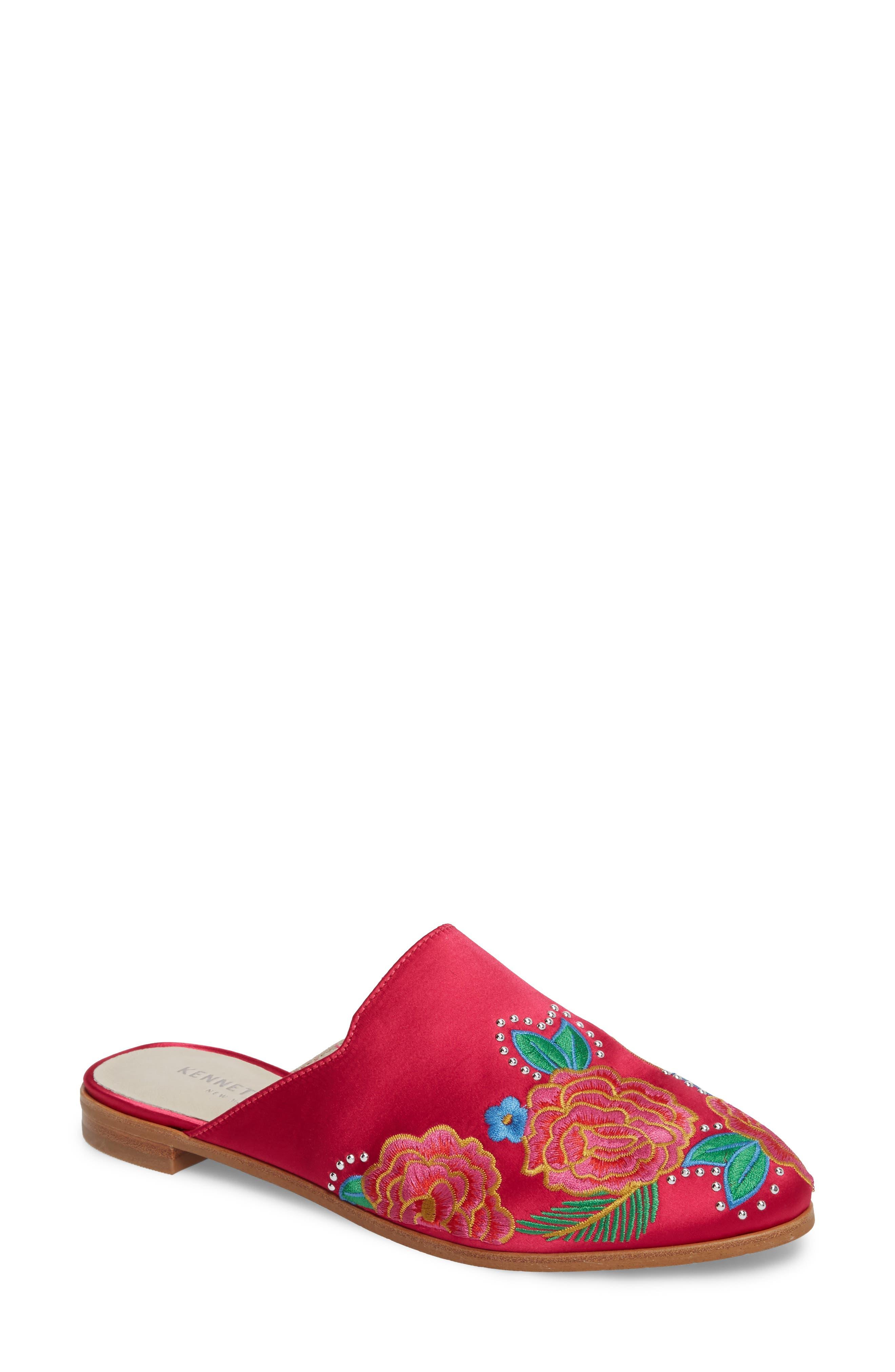 Roxanne Mule,                         Main,                         color, Hot Pink Satin