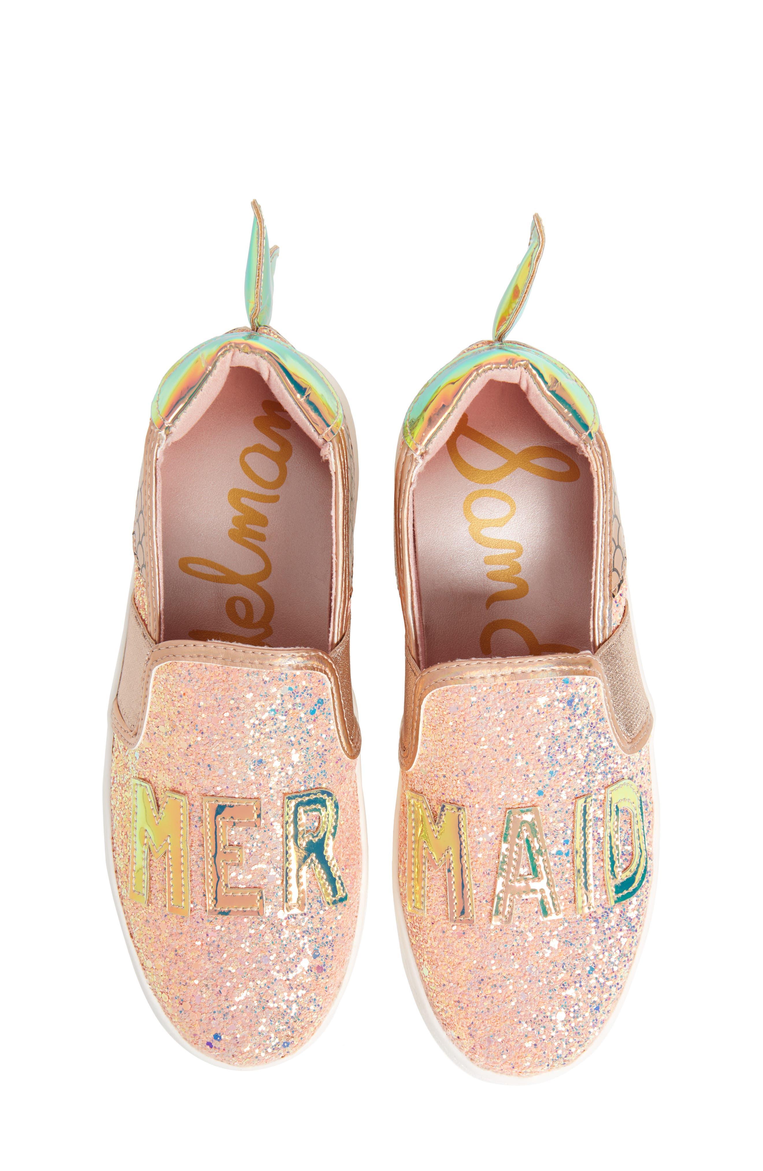 Blane Mermaid Sneaker,                             Main thumbnail 1, color,                             Pale Rose Gold Glitter