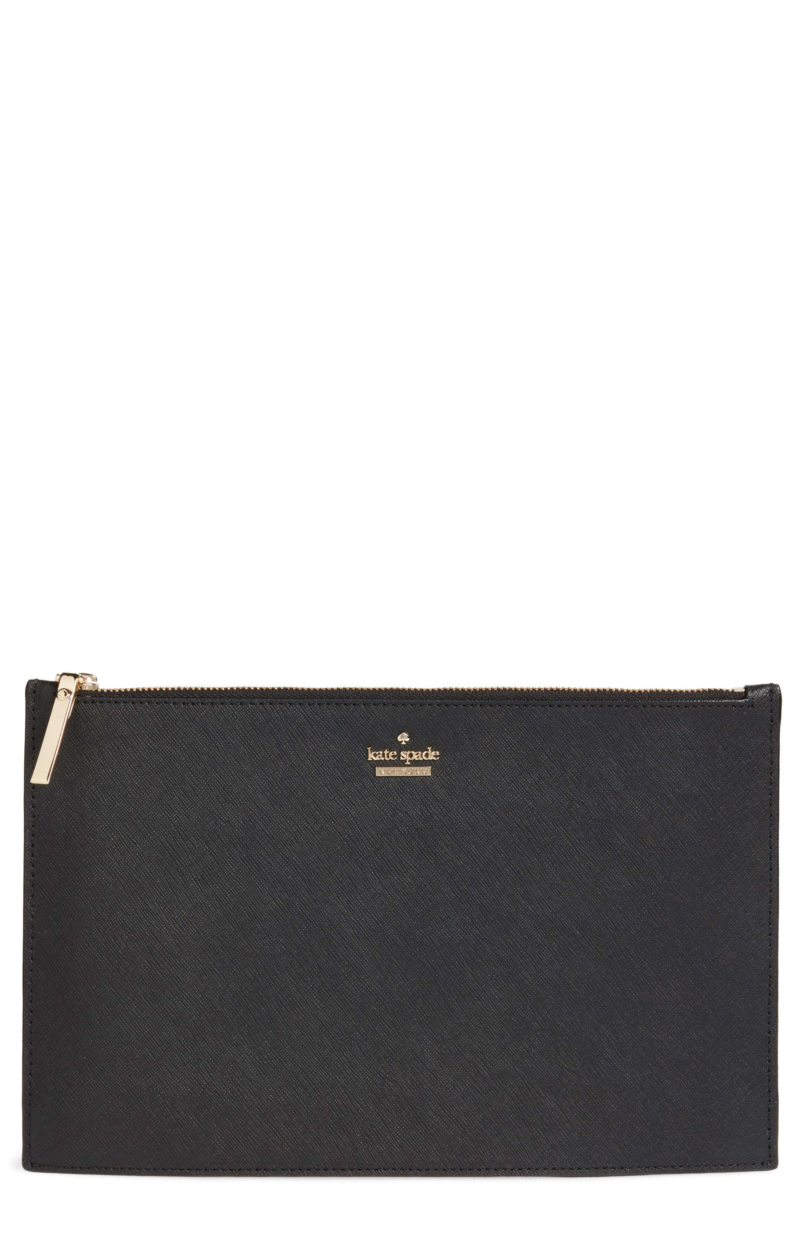 cameron street lilia leather clutch,                             Main thumbnail 1, color,                             Black