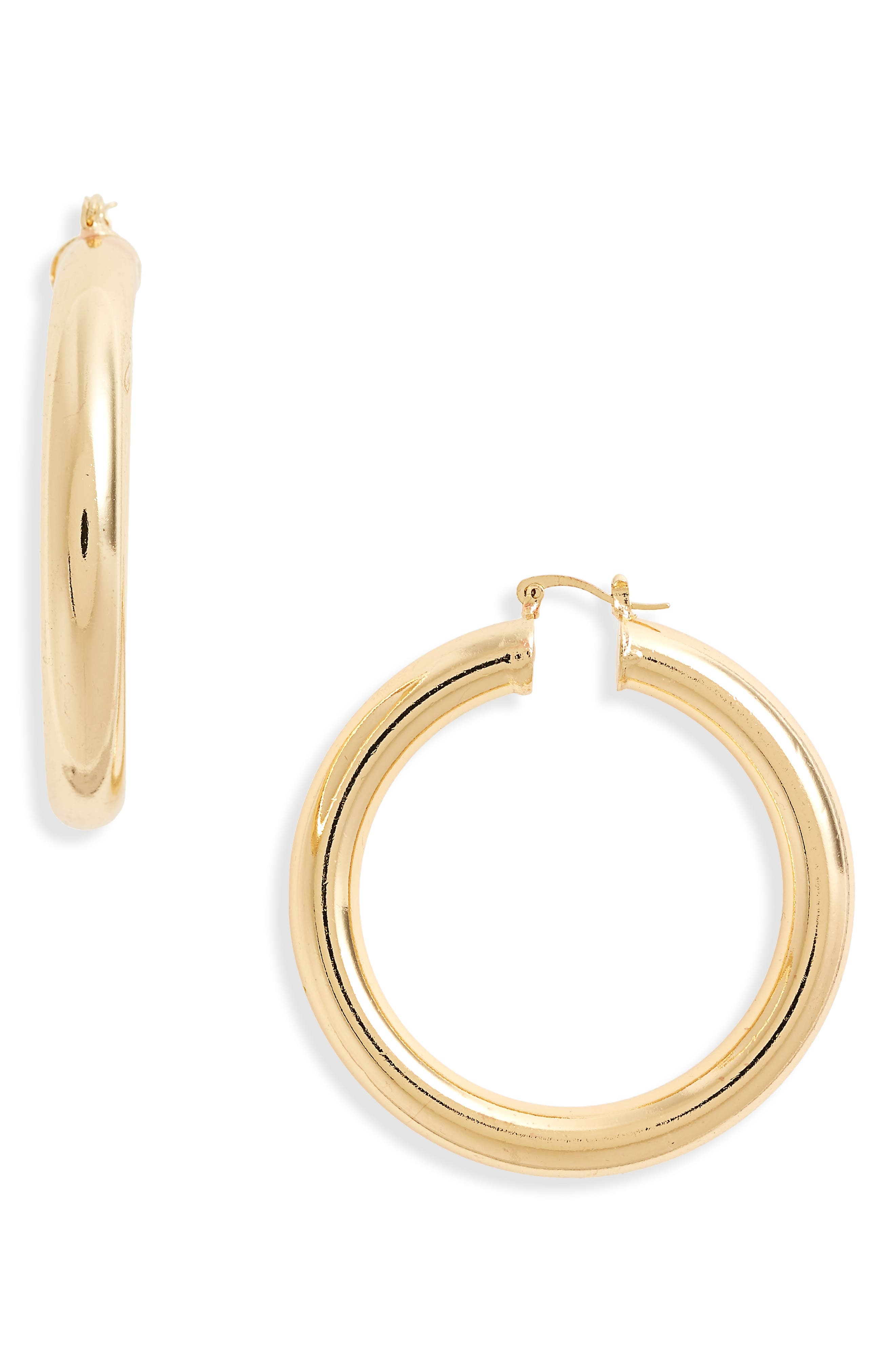 Thick Hoop Earrings,                             Main thumbnail 1, color,                             Gold