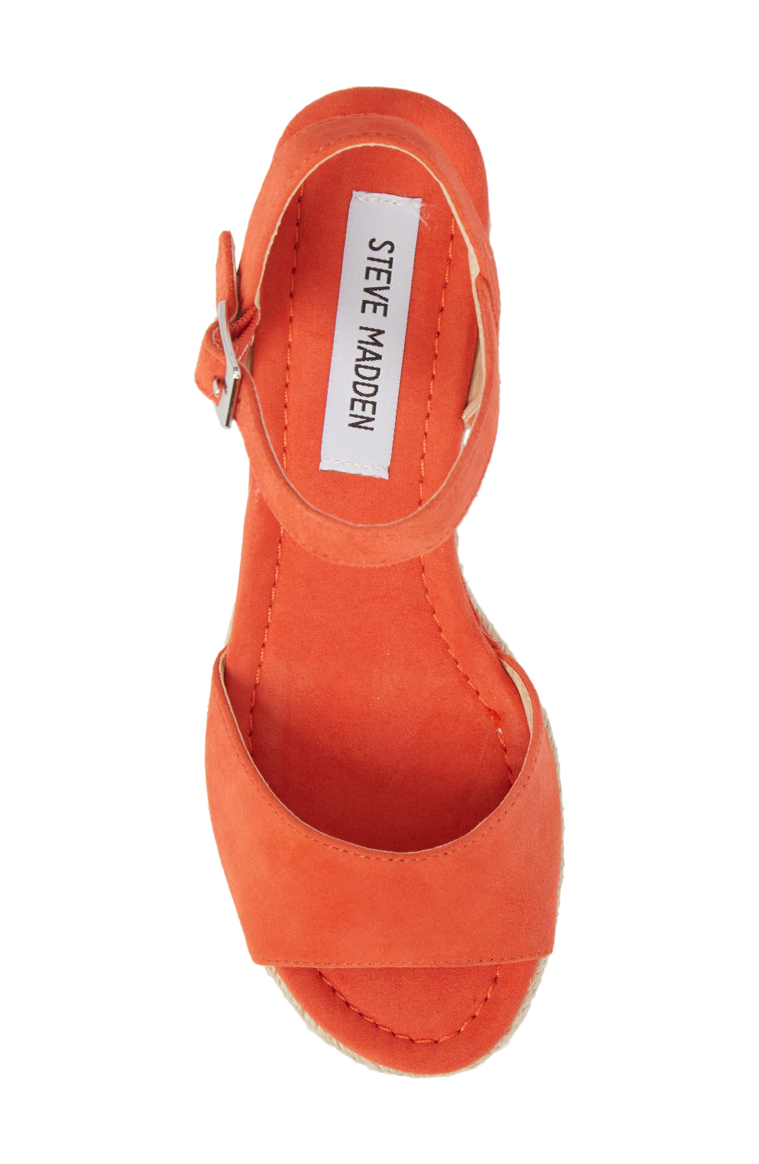 Kianna Espadrille Wedge Sandal,                             Alternate thumbnail 5, color,                             Coral Suede