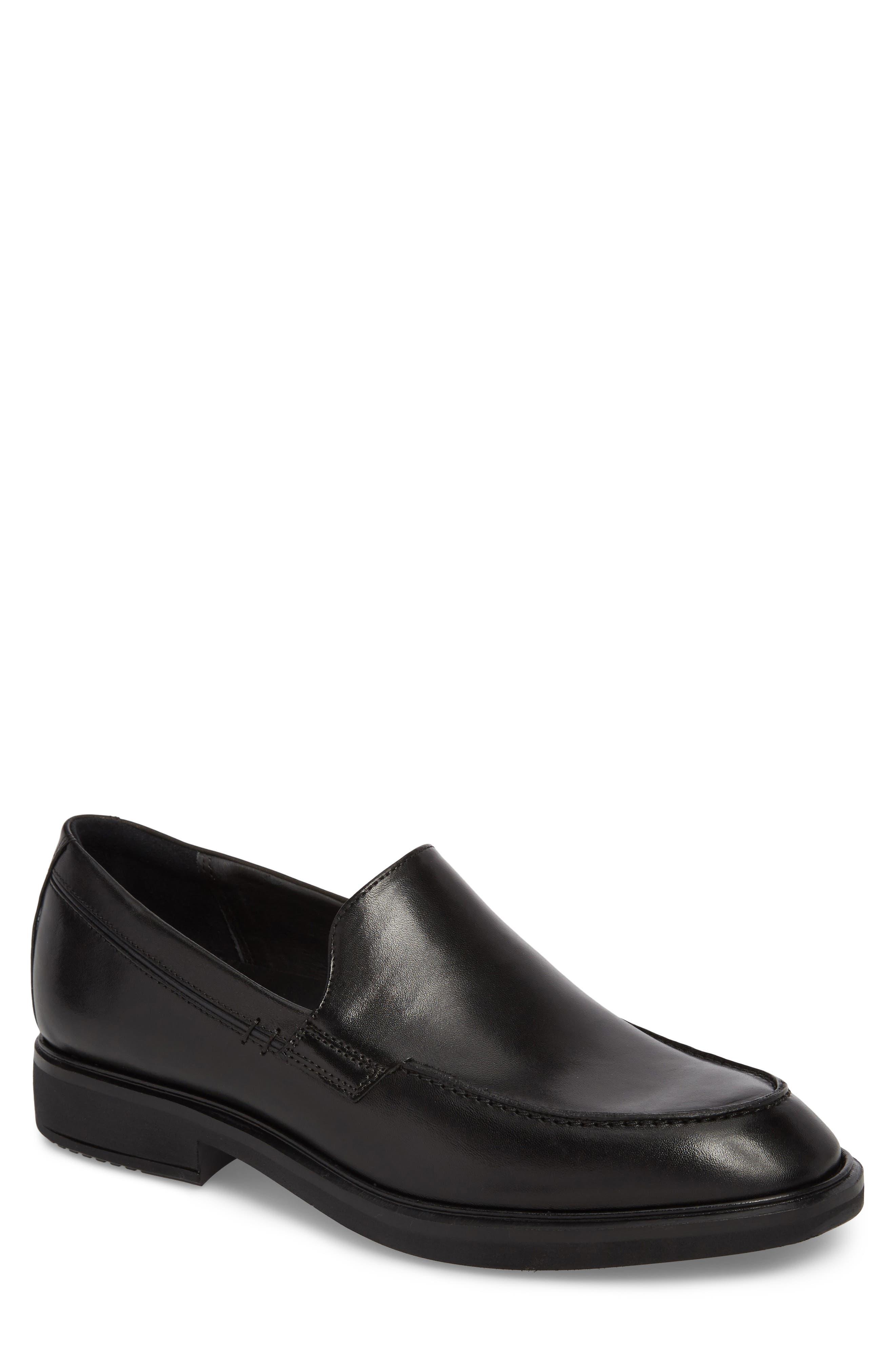 Vitrus II Apron Toe Loafer,                             Main thumbnail 1, color,                             Black Leather