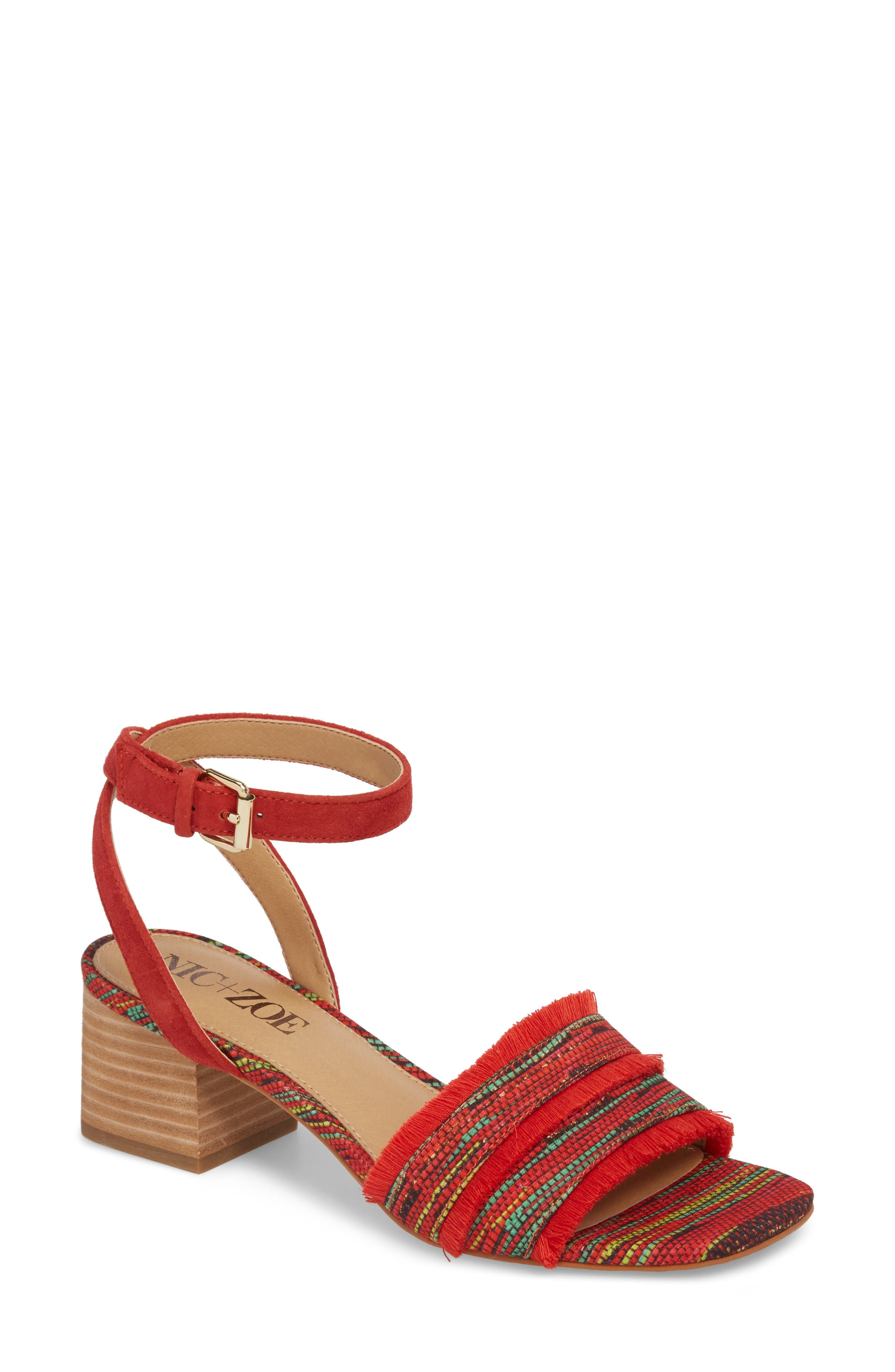 Zaria Fringed Sandal,                             Main thumbnail 1, color,                             Red Multi Fabric
