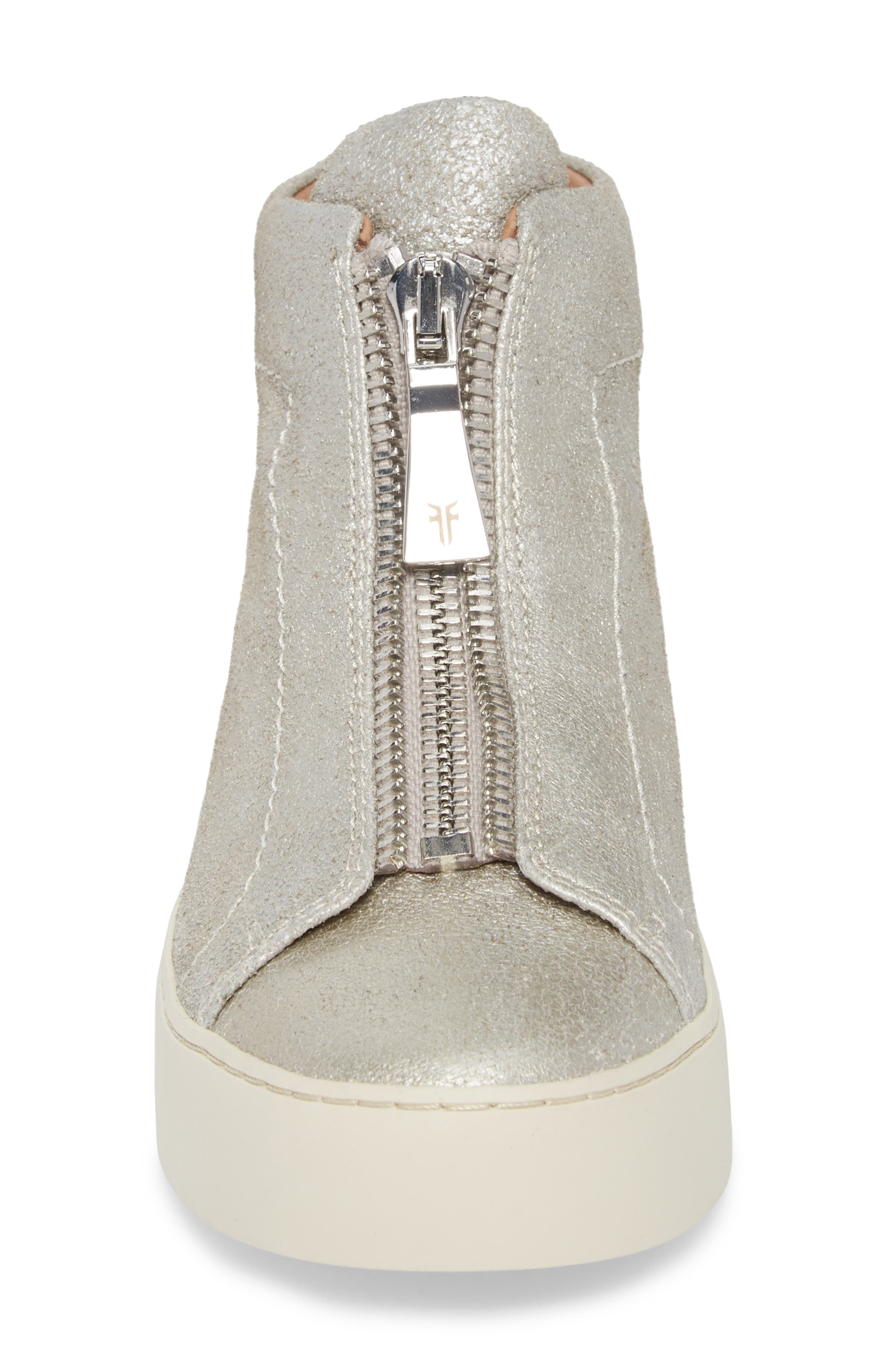 Lena Zip High Top Sneaker,                             Alternate thumbnail 4, color,                             Silver
