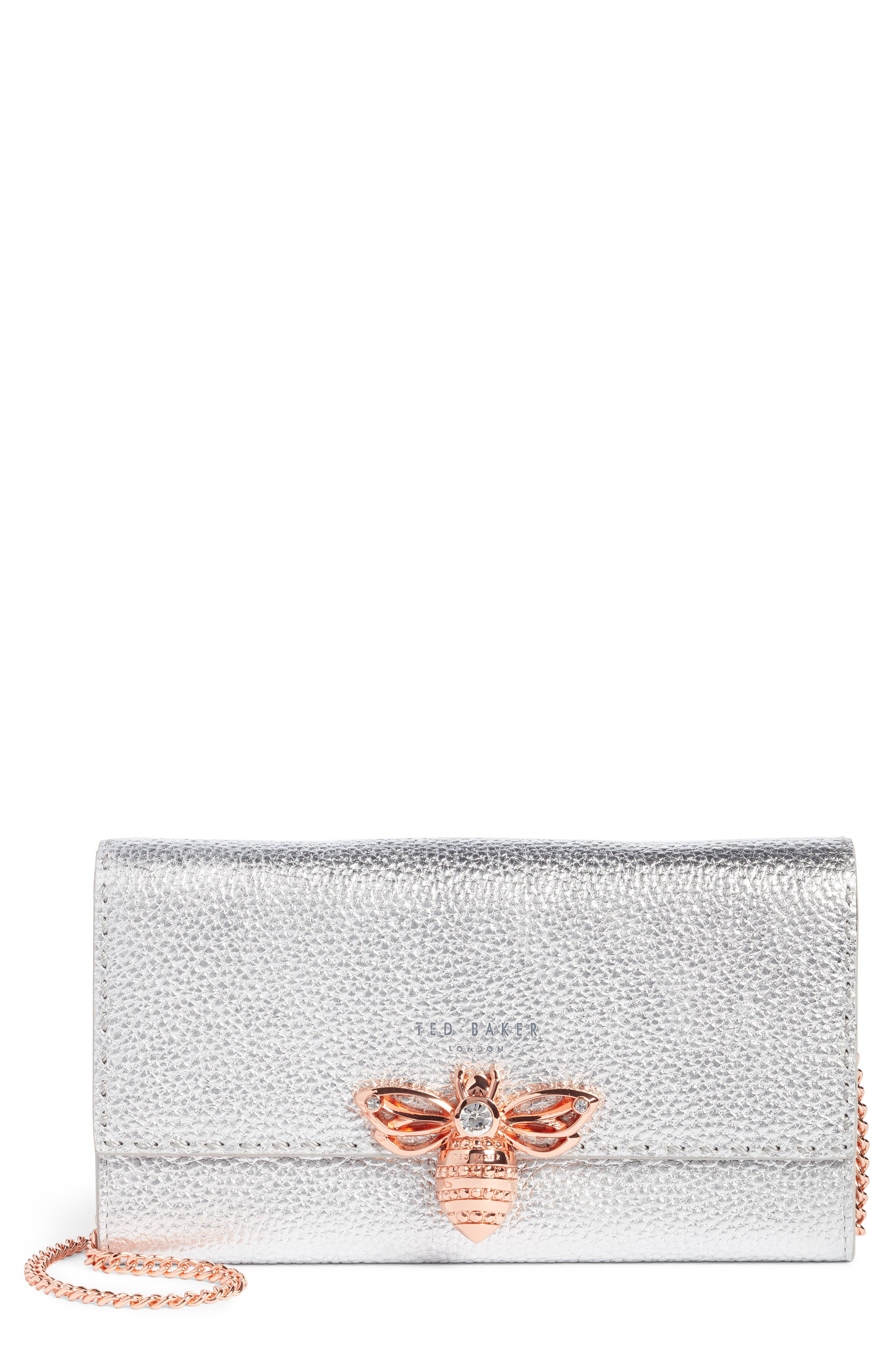 Janese Bee Embellished Matinée Wallet,                             Main thumbnail 1, color,                             Silver