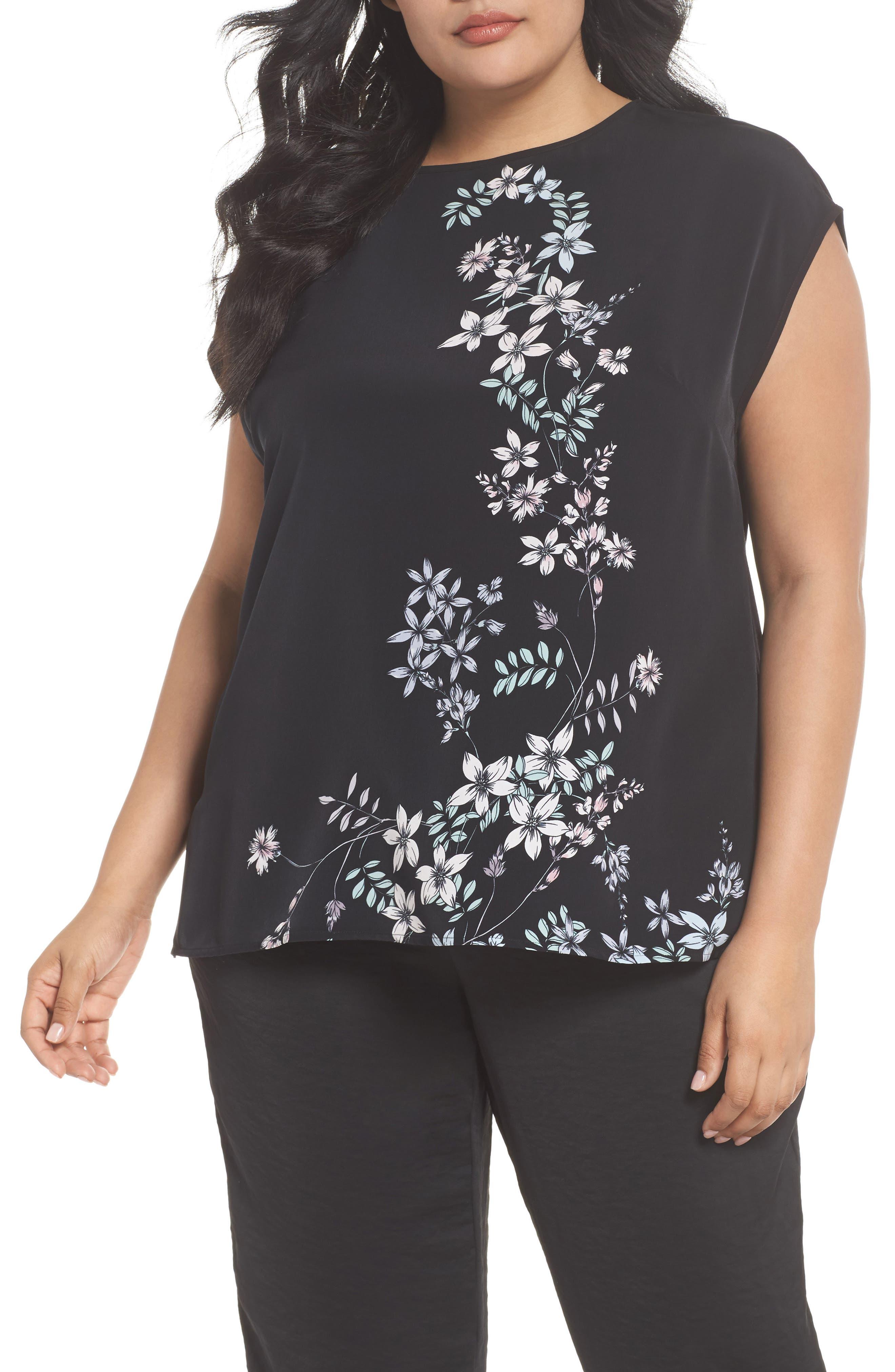 Floral Print Top,                         Main,                         color, Rich Black