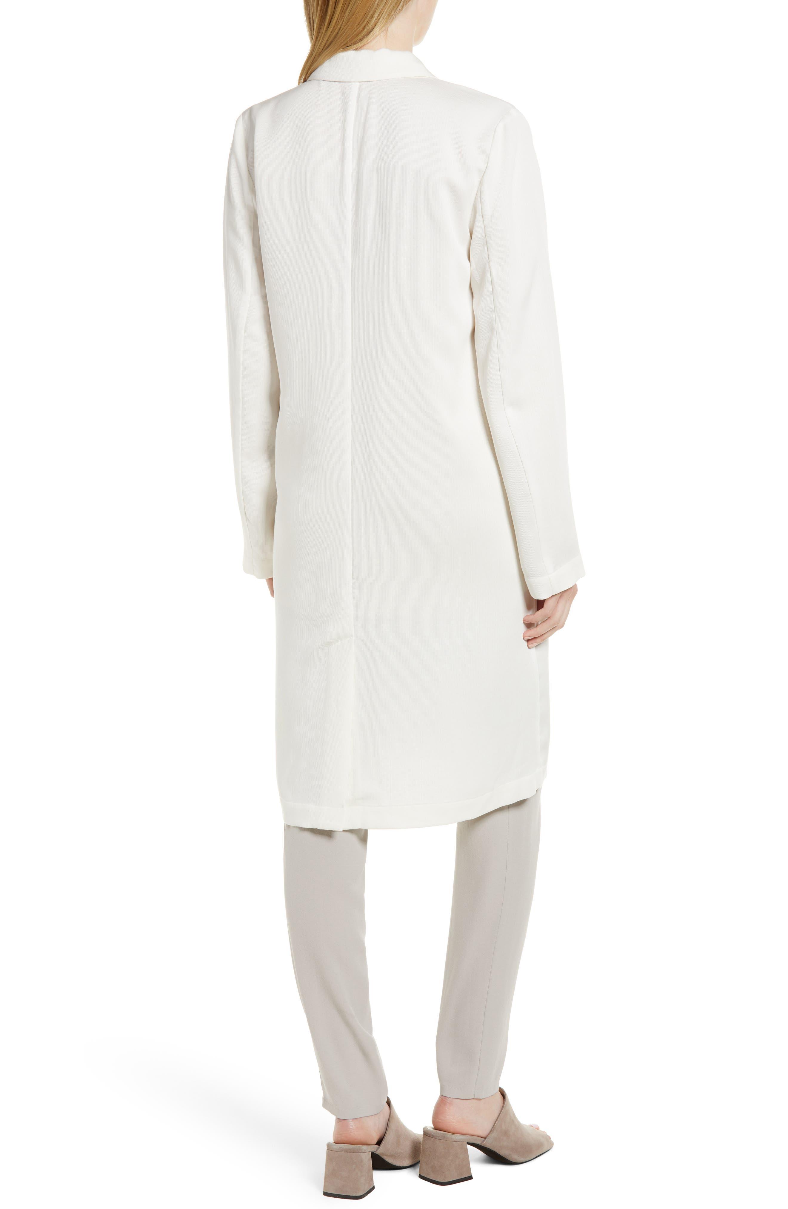 Long Tencel<sup>®</sup> Lyocell Jacket,                             Alternate thumbnail 2, color,                             White