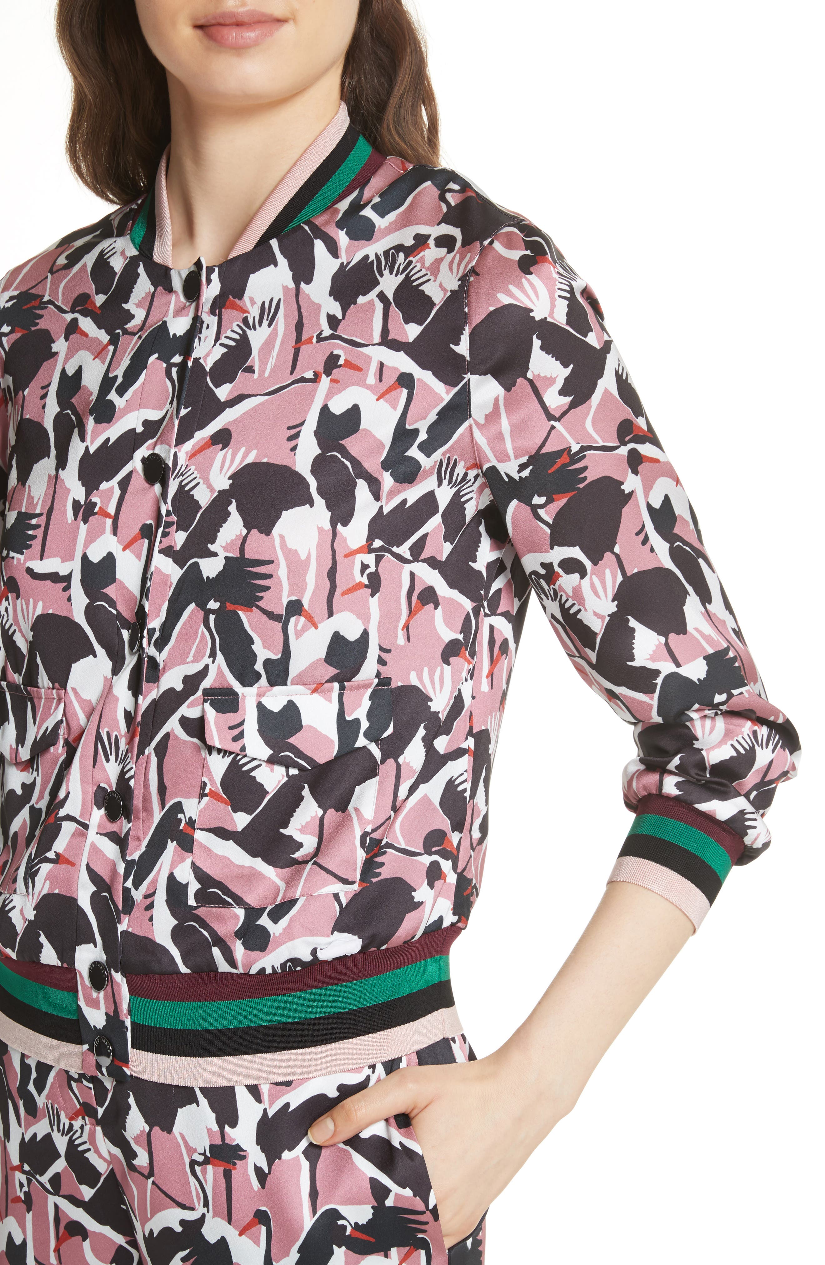 Colour by Numbers Oosel Bomber Jacket,                             Alternate thumbnail 4, color,                             Dusky Pink