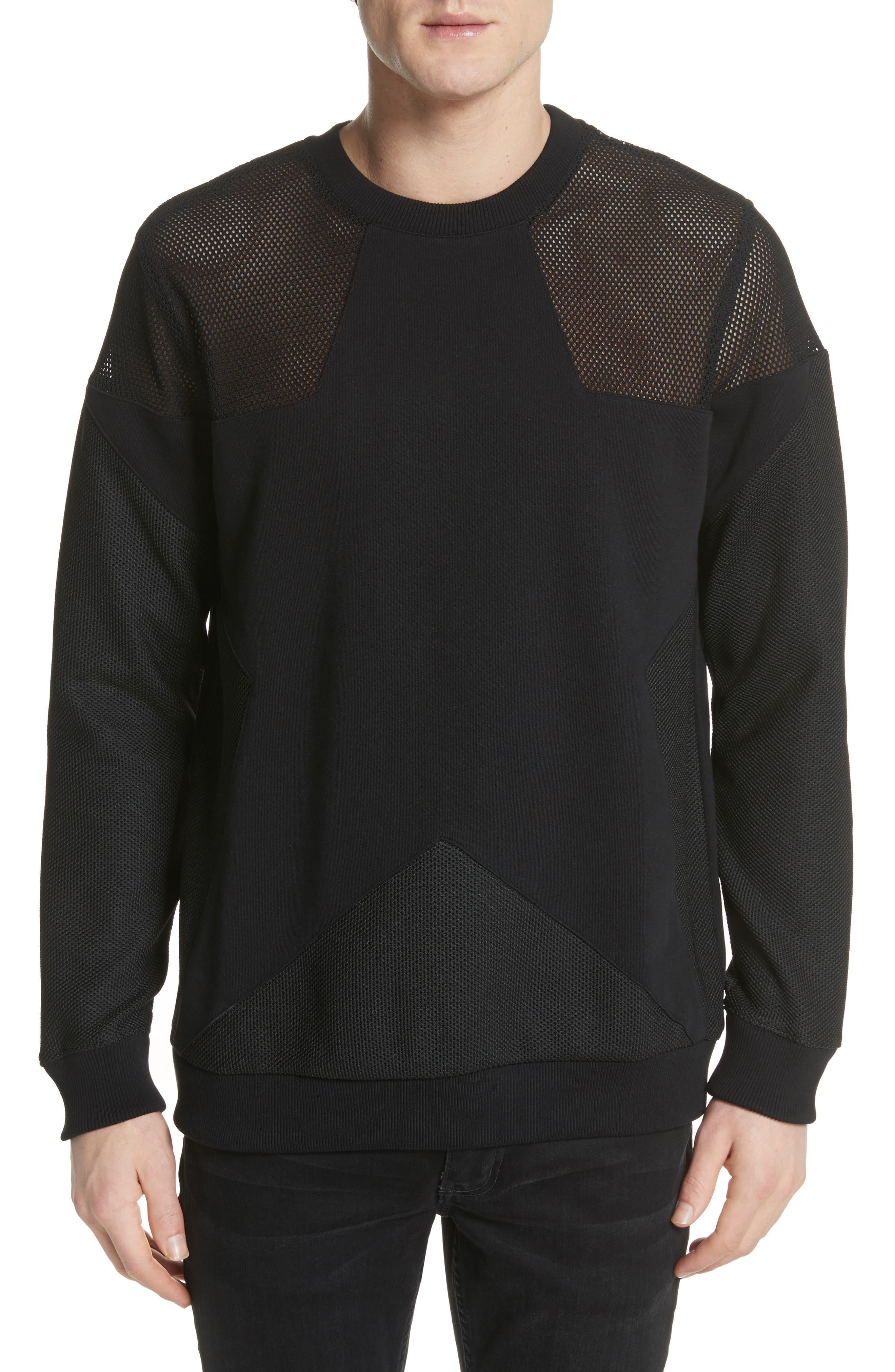 Mesh Star Crewneck Sweatshirt,                         Main,                         color, Black