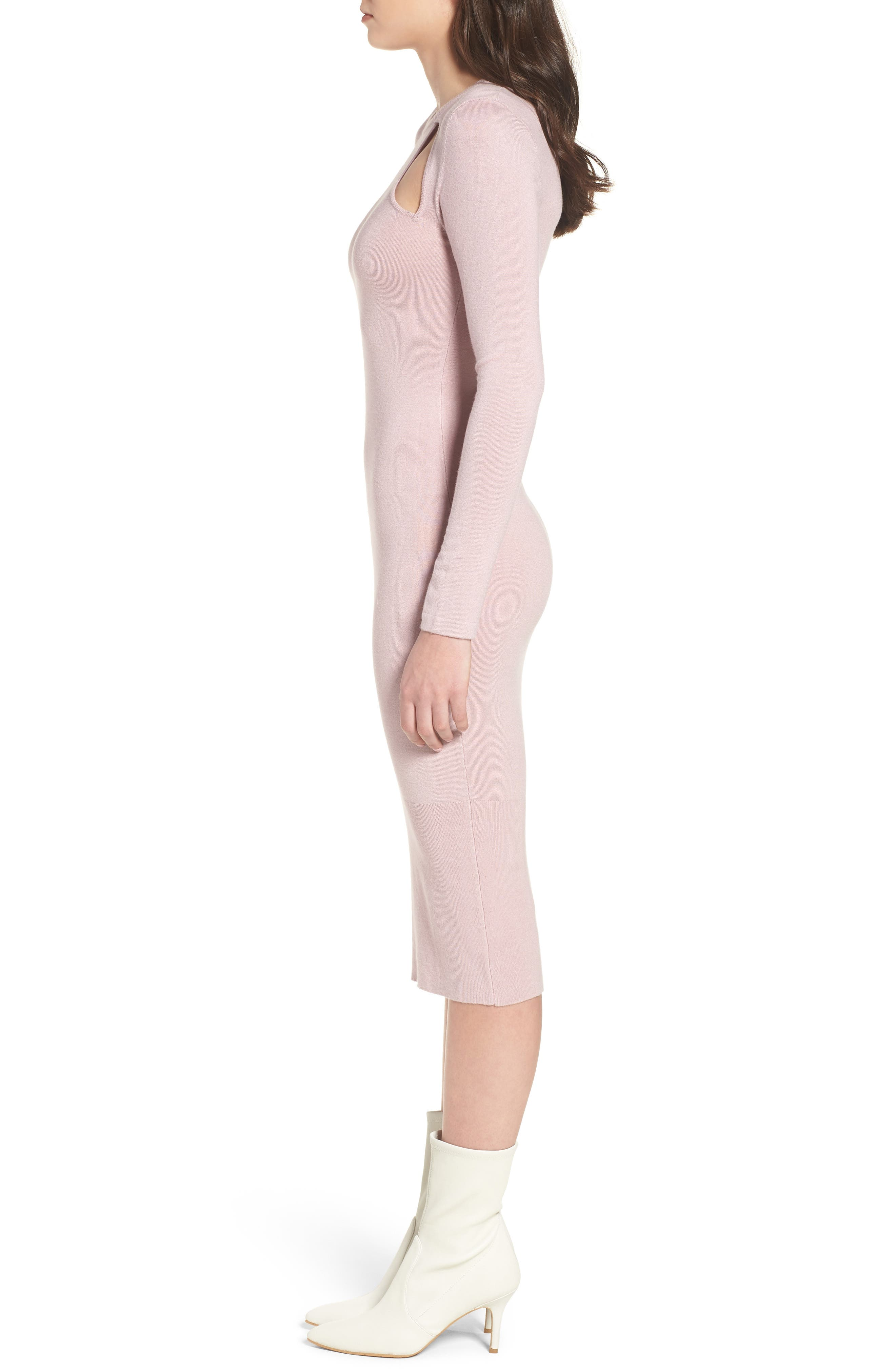 Body-Con Midi Dress,                             Alternate thumbnail 3, color,                             Light Pink