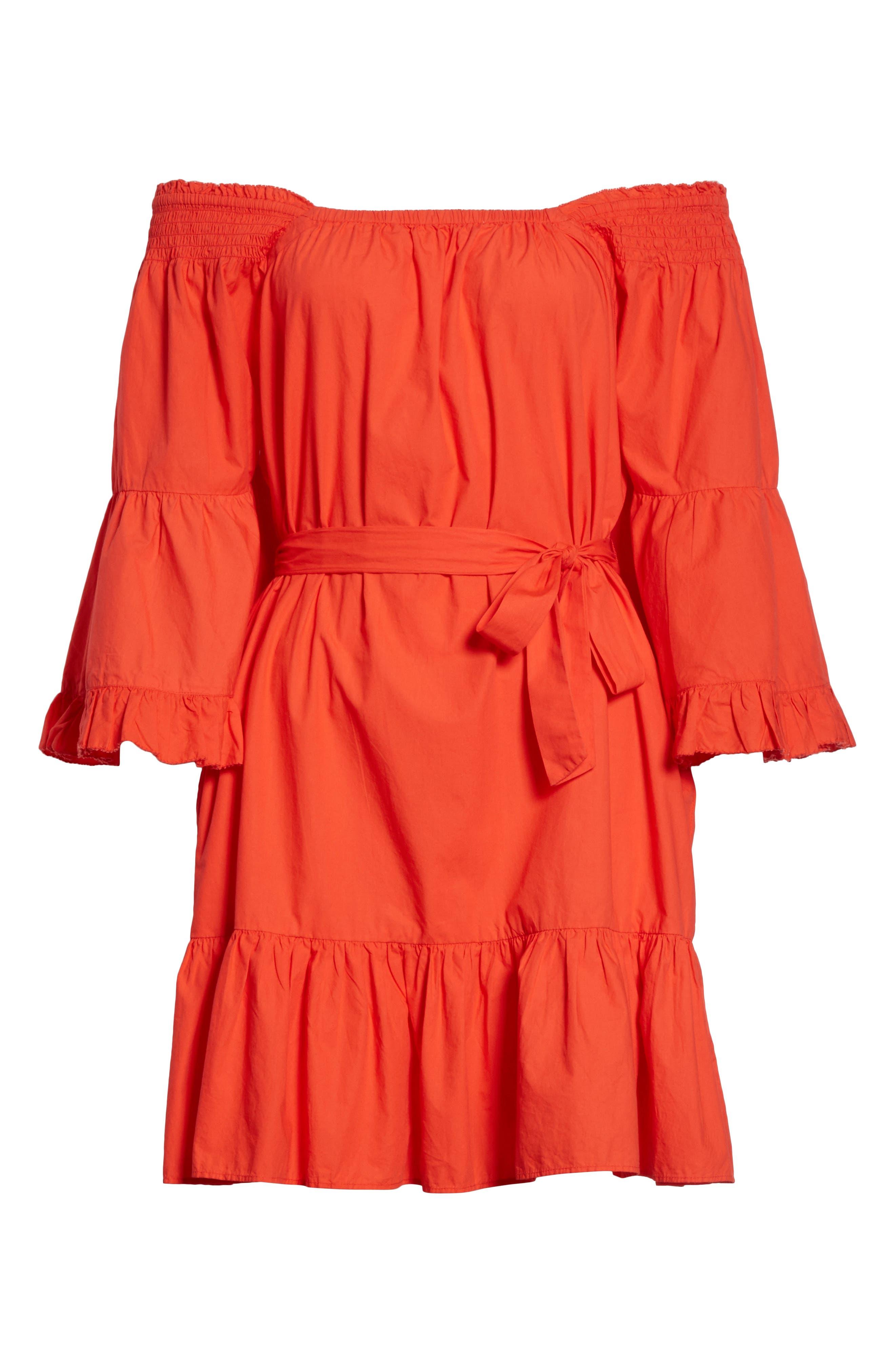 Colstona Ruffle Cotton Dress,                             Alternate thumbnail 6, color,                             Salsa