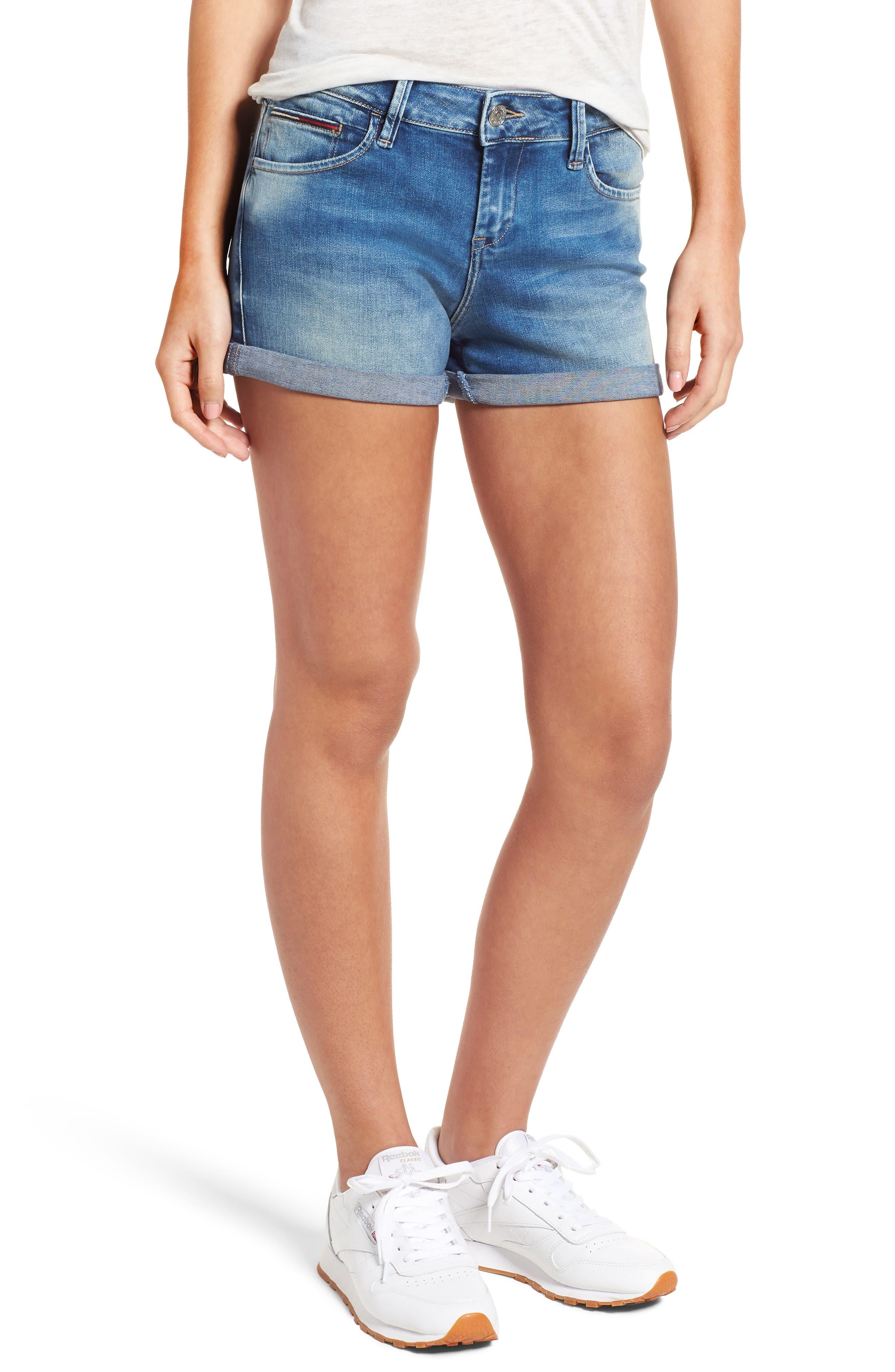 Cuffed Denim Shorts,                         Main,                         color, Florida Light Blue Stretch