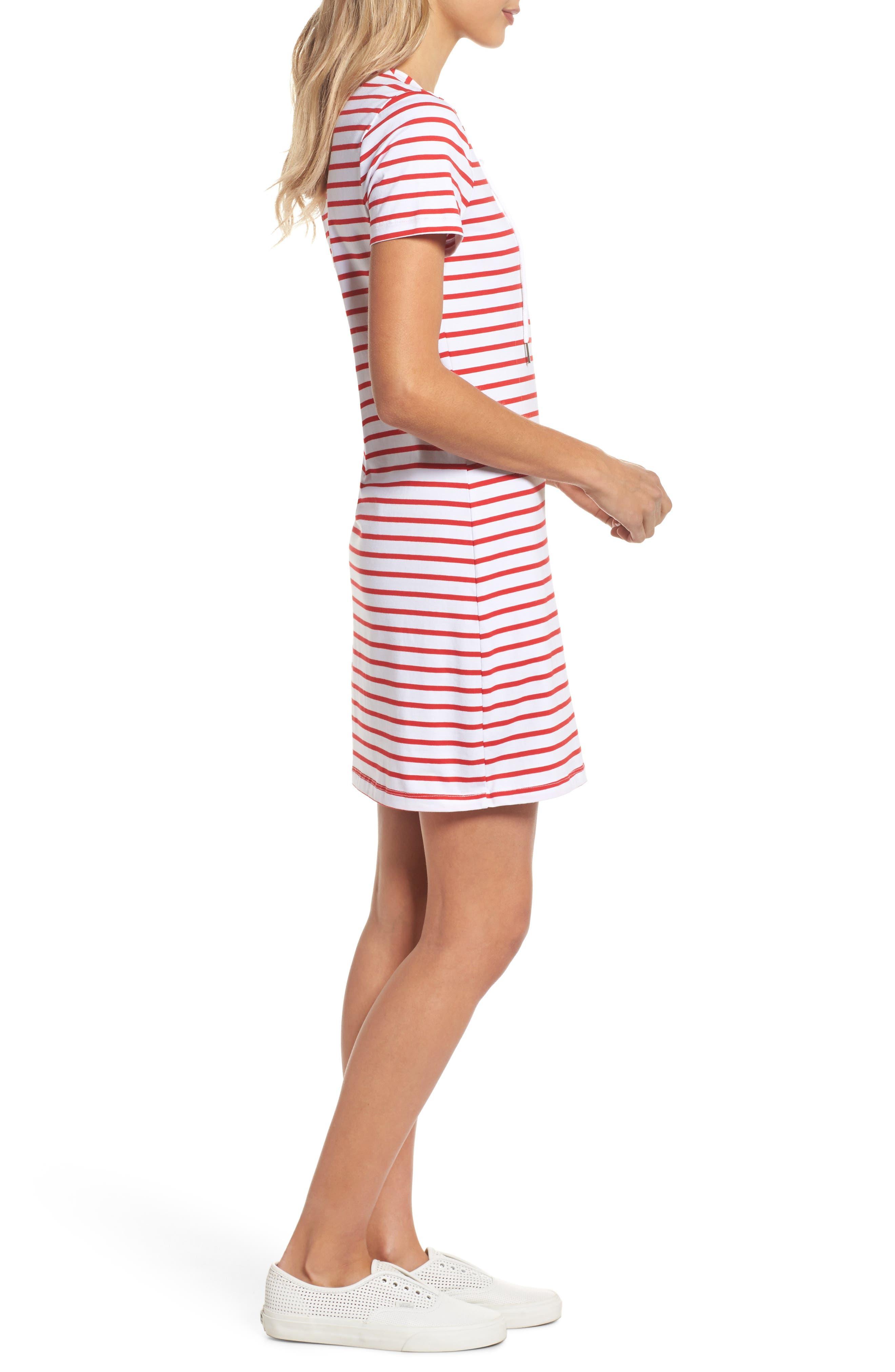Stripe Shift Dress,                             Alternate thumbnail 6, color,                             Red Stripe