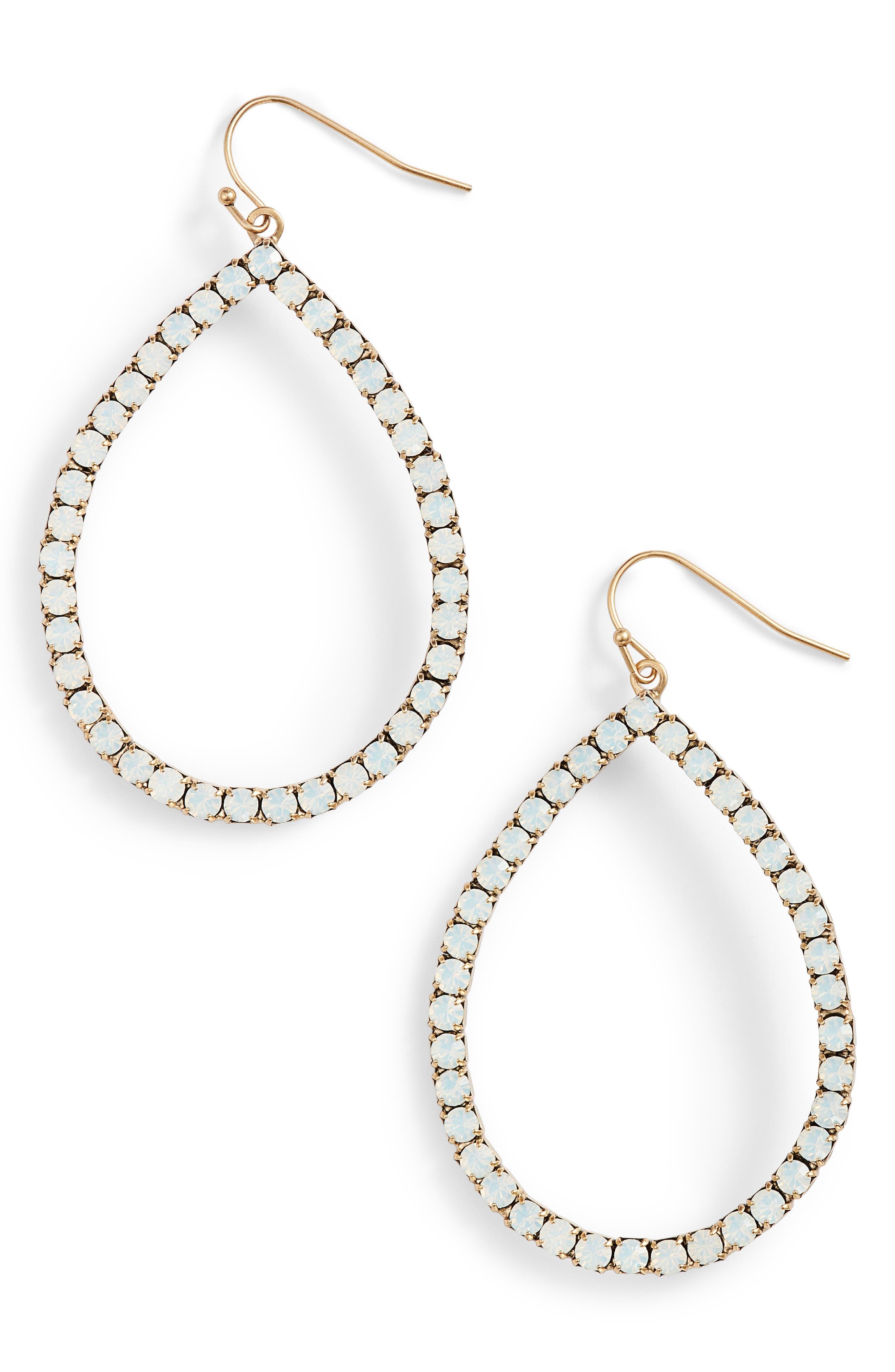 Emilia Crystal Teardrop Earrings,                         Main,                         color, White