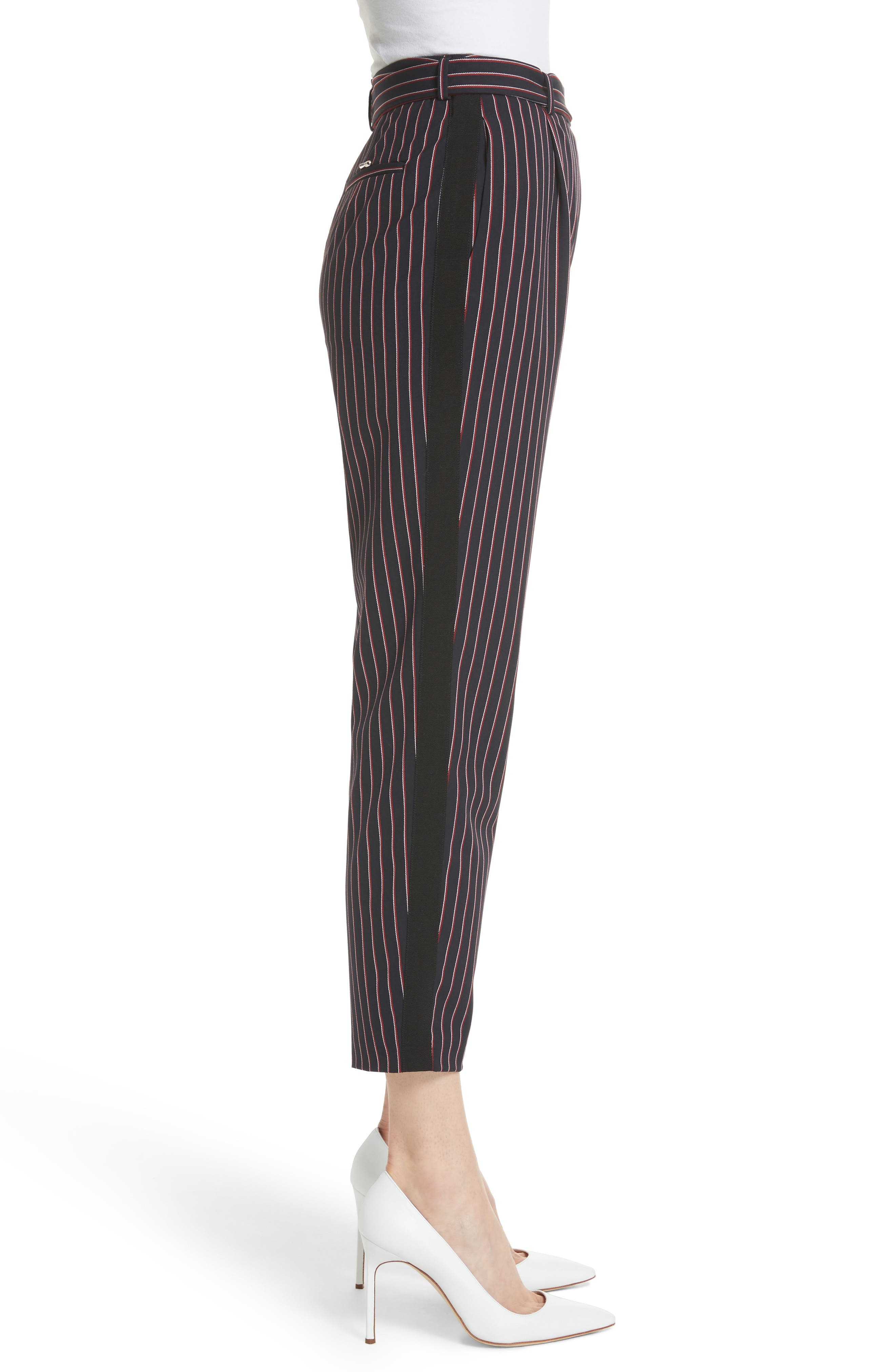 Colour by Numbers Belted Stripe Crop Pants,                             Alternate thumbnail 3, color,                             Navy