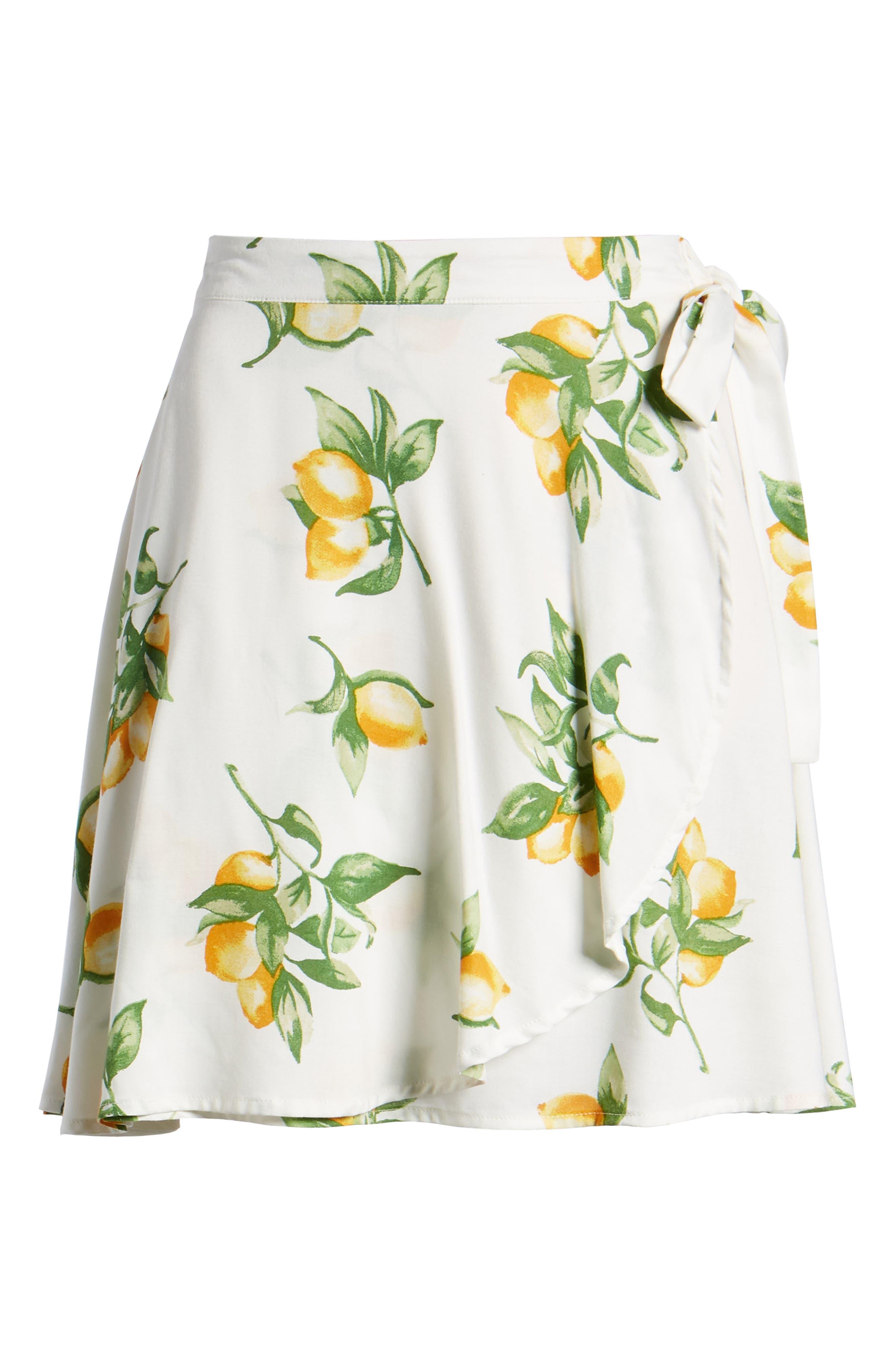 Fruit Print Side Tie Skirt,                             Alternate thumbnail 6, color,                             Ivory Lemon Print