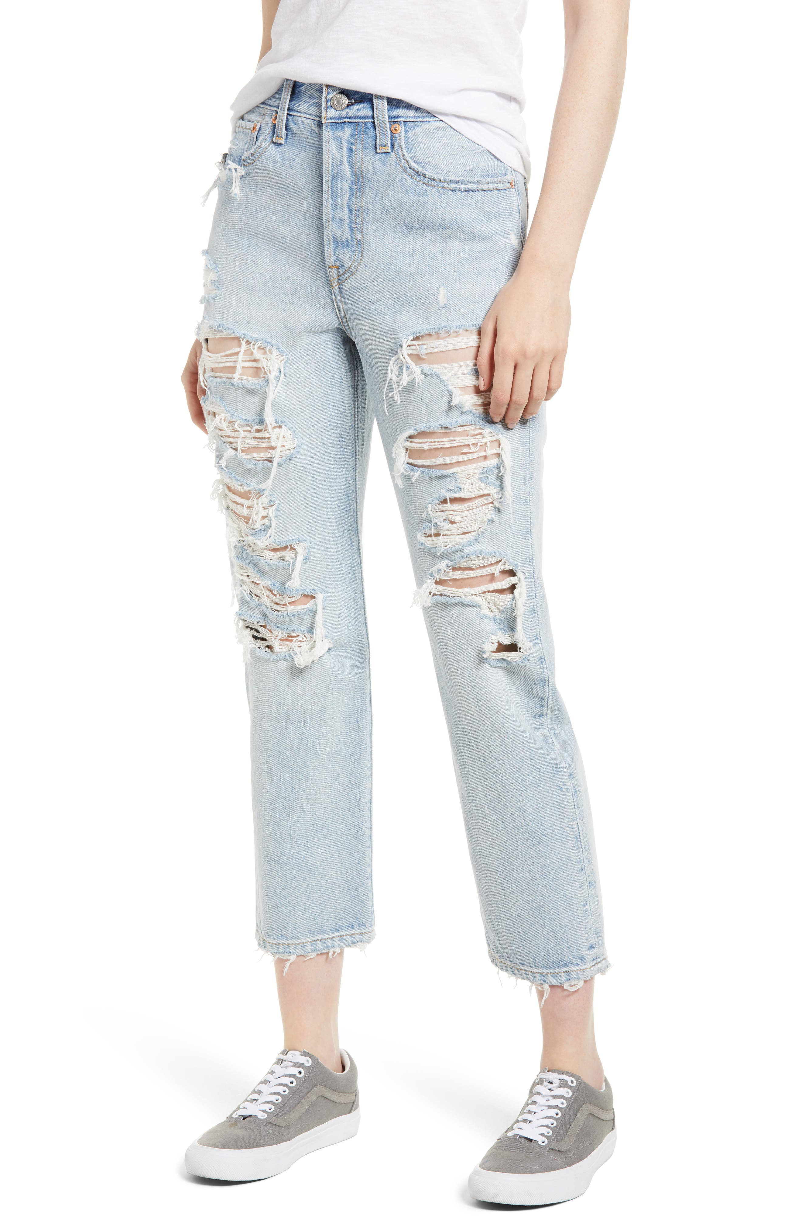 Wedgie High Waist Ripped Straight Jeans,                             Main thumbnail 1, color,                             Light Blue 1