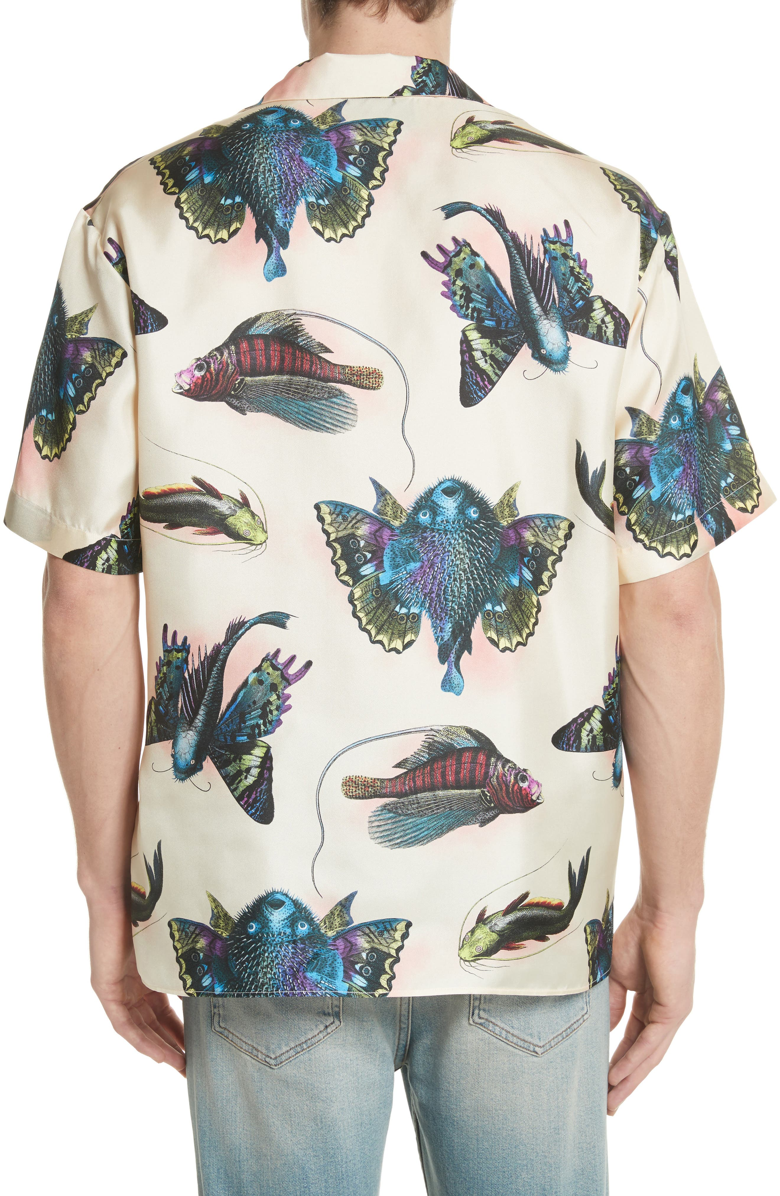 Flying Fish Silk Bowling Shirt,                             Alternate thumbnail 3, color,                             9273 Ivory