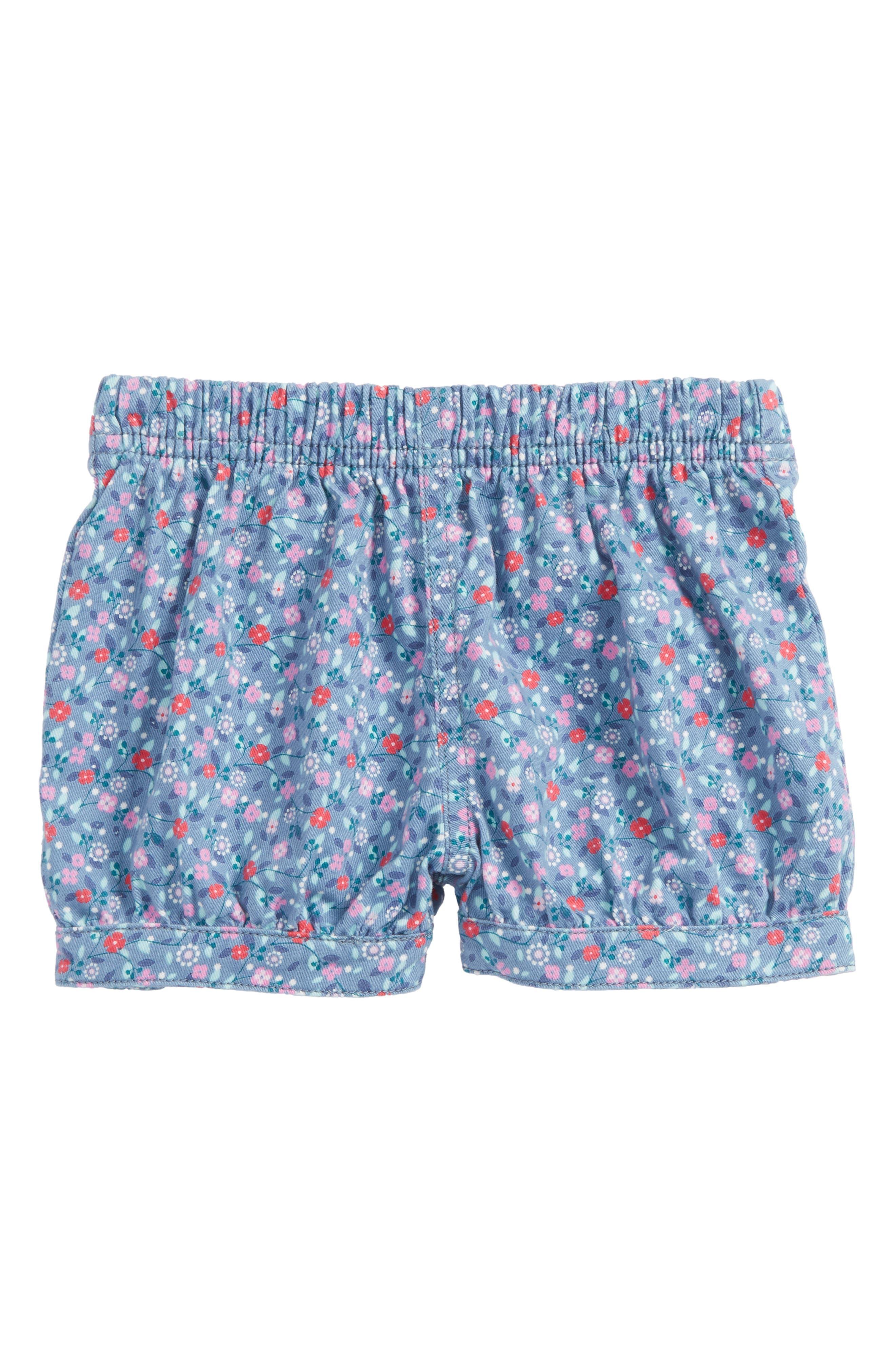 Ditsy Floral Bubble Shorts,                             Main thumbnail 1, color,                             Blue Tide Tiny Florals
