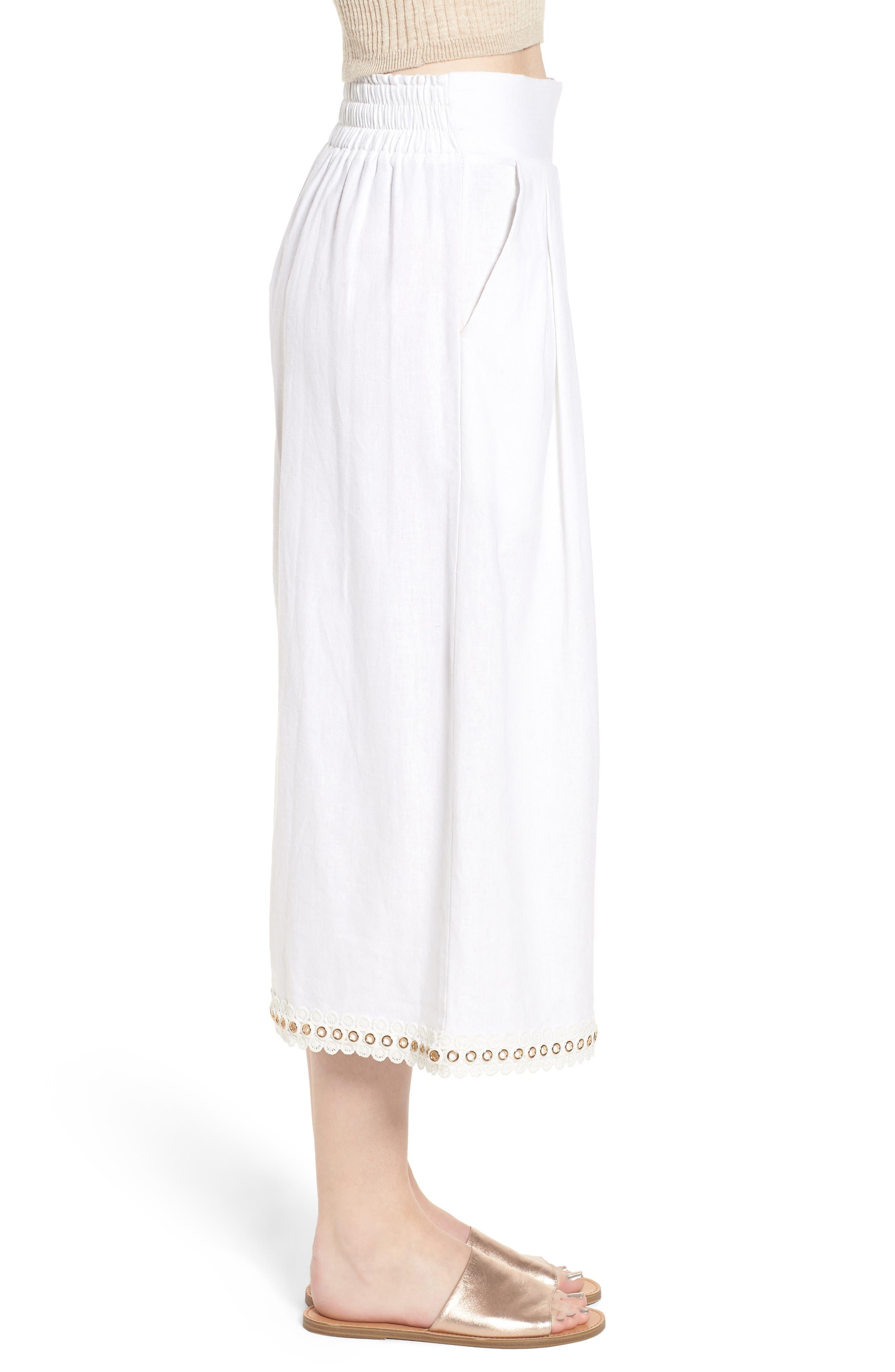 Imara Linen Blend Pants,                             Alternate thumbnail 3, color,                             White