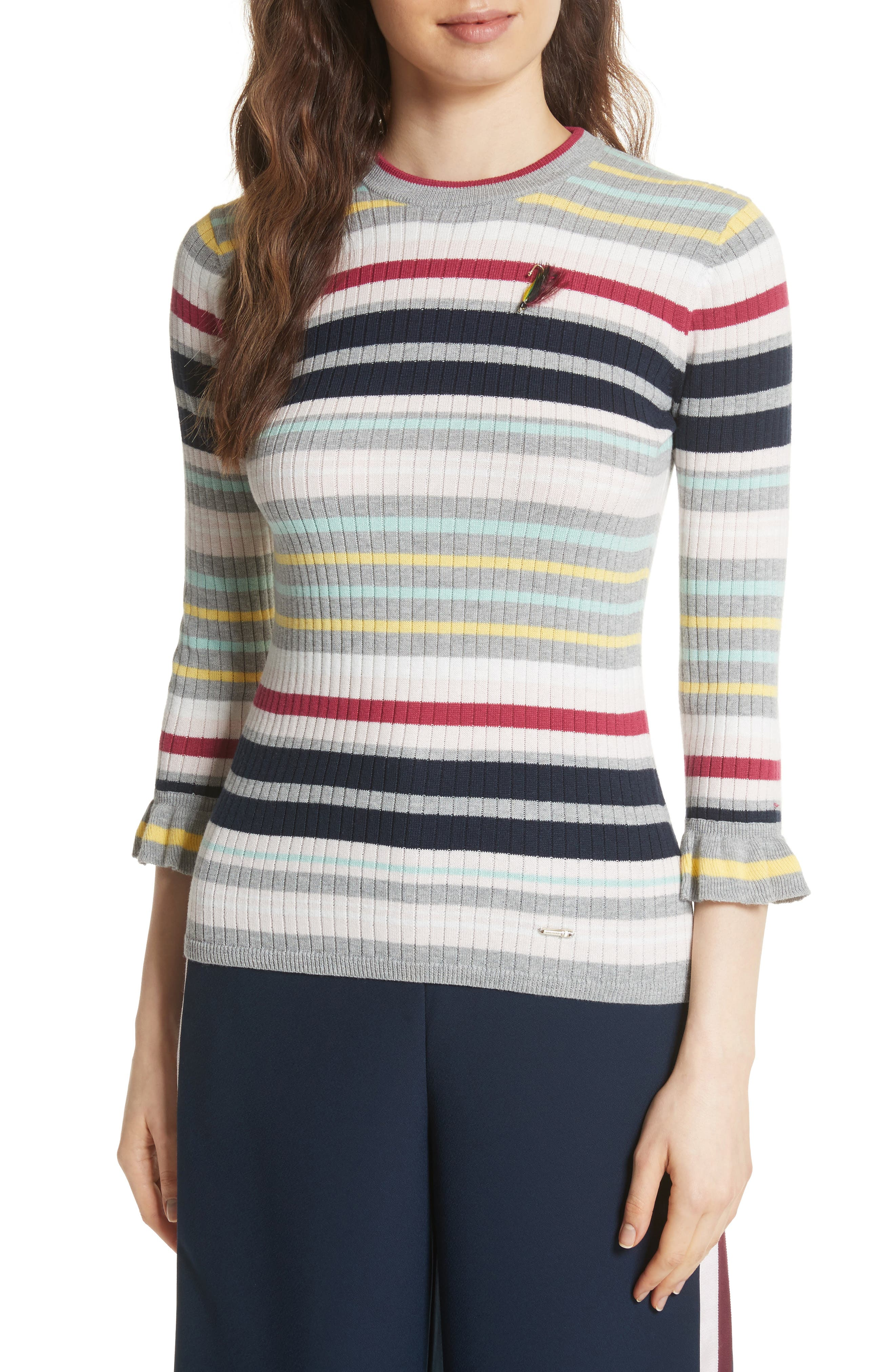Colour by Numbers Stripe Top,                         Main,                         color, Grey