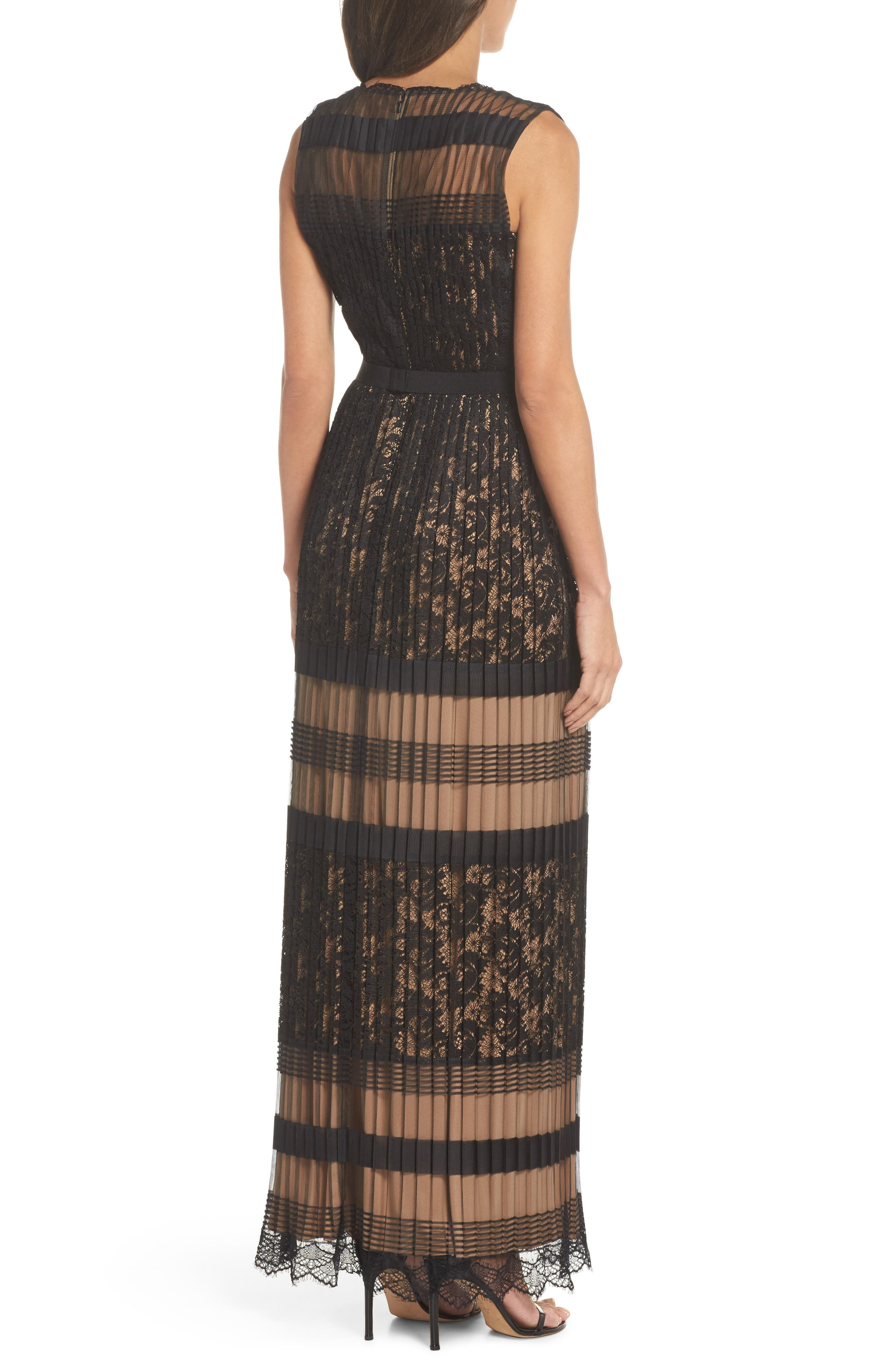 Pleated Lace Gown,                             Alternate thumbnail 2, color,                             Black/ Nude