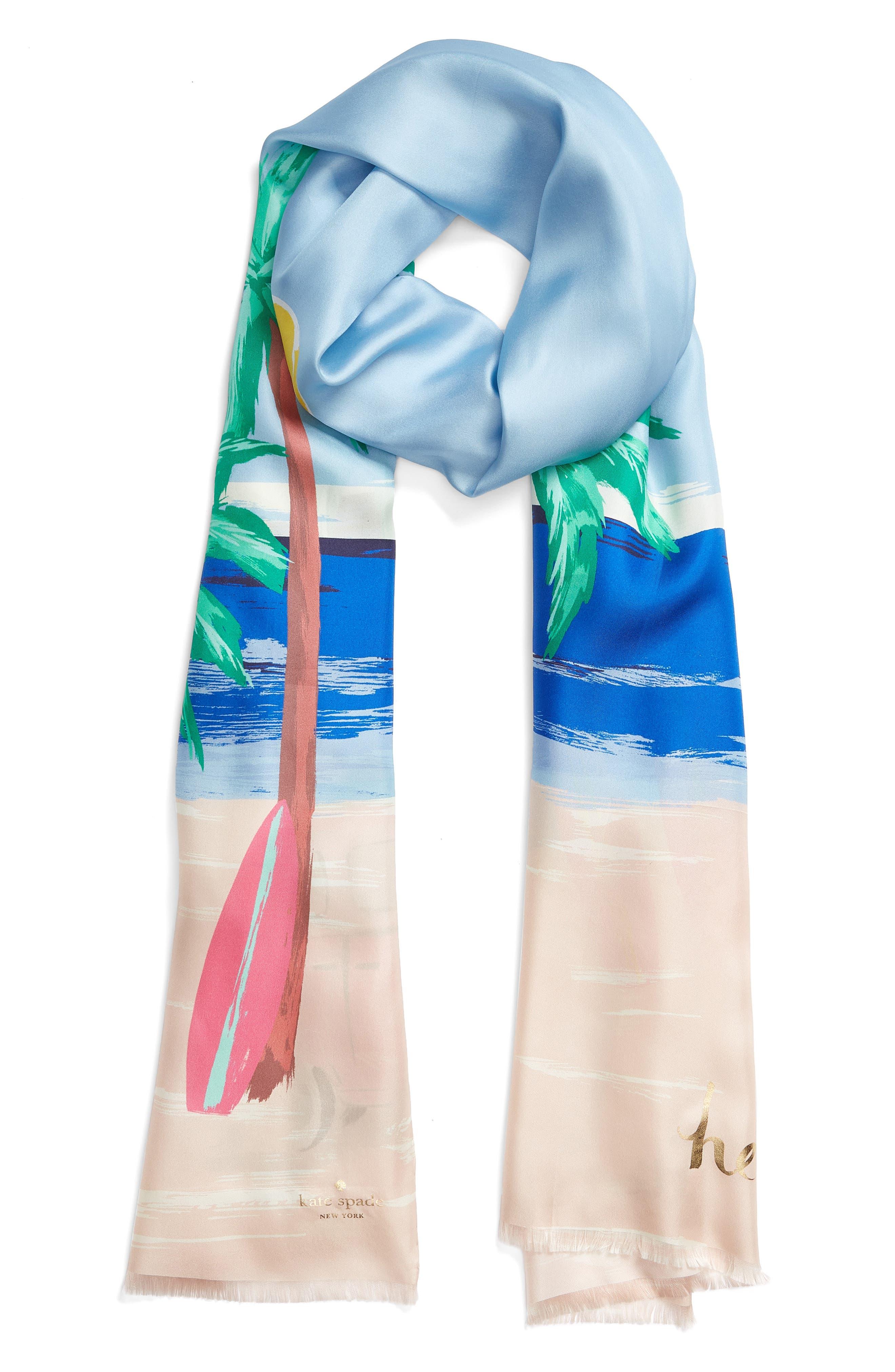 beach scene silk scarf,                             Alternate thumbnail 2, color,                             Bayside Blue