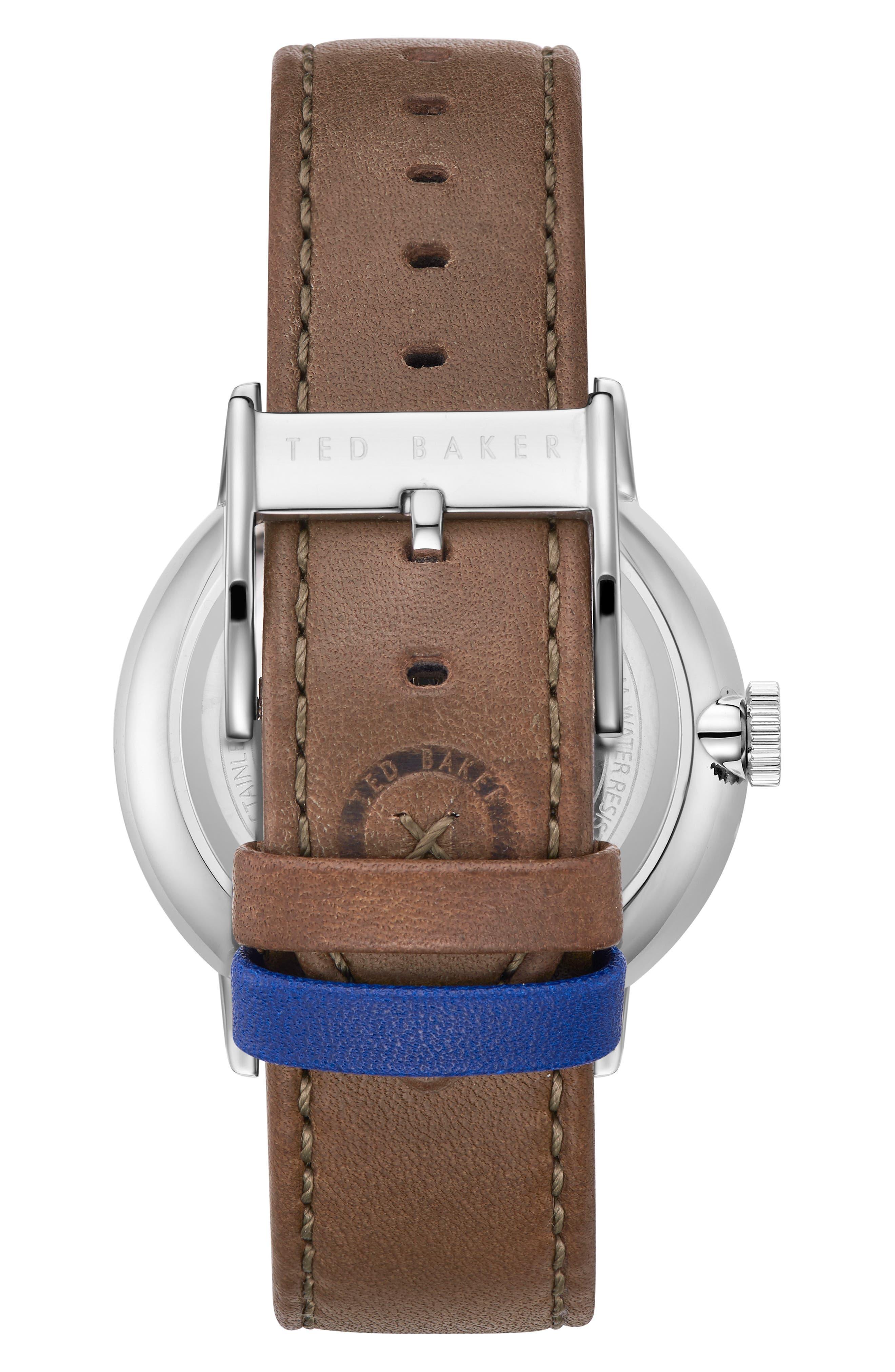 Jason Multifunction Leather Strap Watch, 42mm,                             Alternate thumbnail 3, color,                             White/ Dark Green
