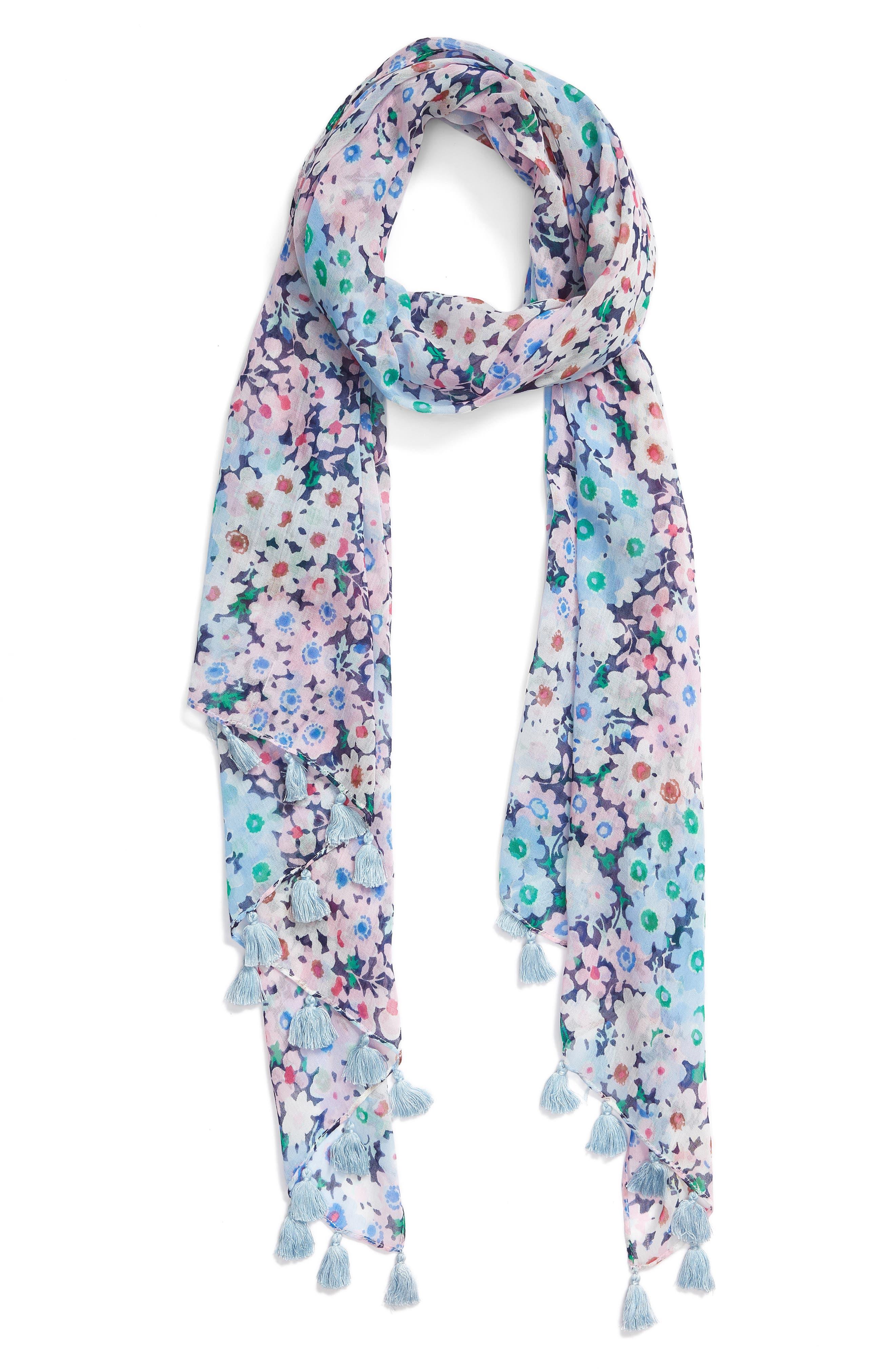 daisy garden cotton scarf,                             Alternate thumbnail 2, color,                             Navy