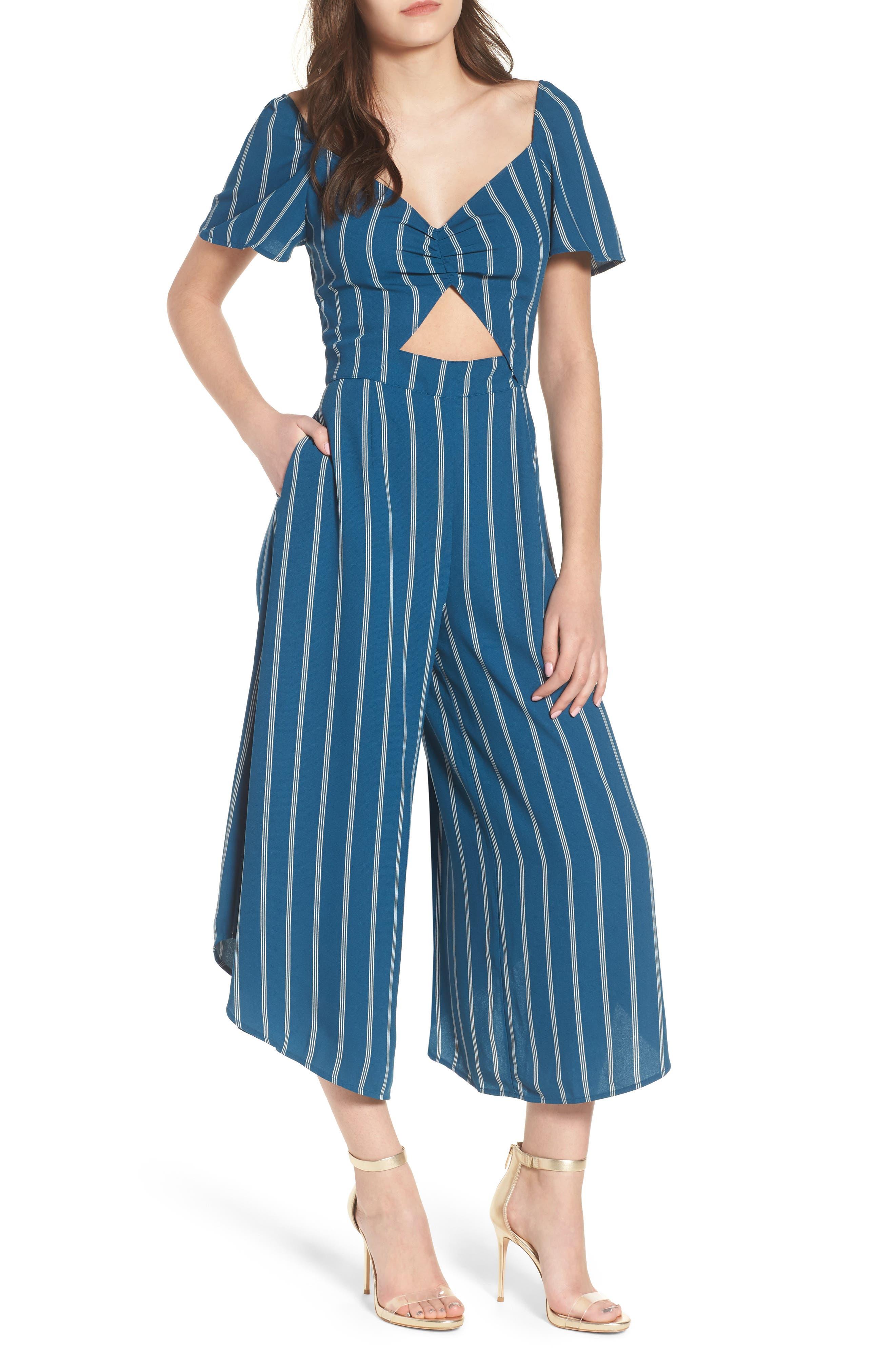 Cutout Culotte Jumpsuit,                             Main thumbnail 1, color,                             Teal Seagate Pinstripe