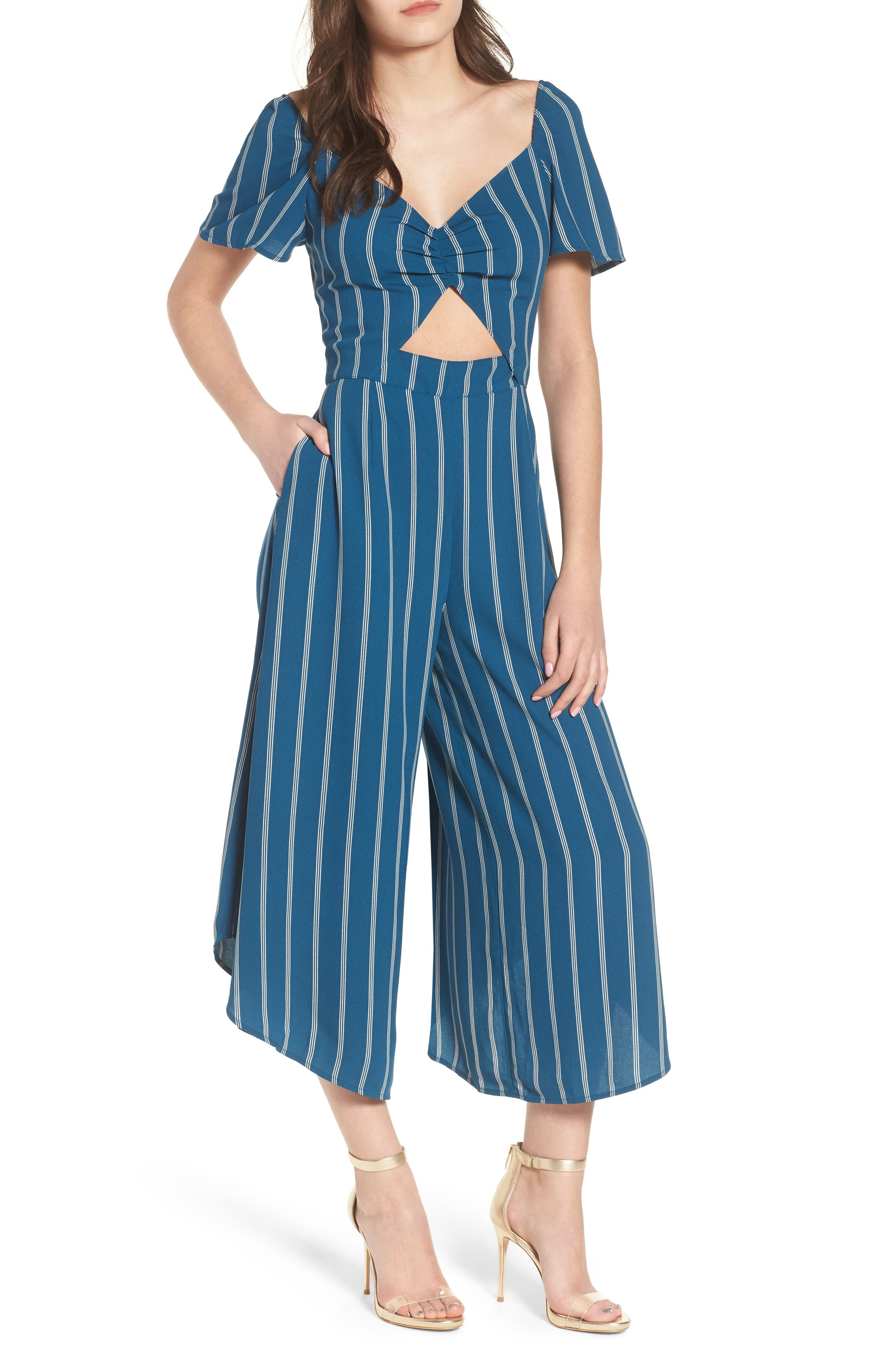 Cutout Culotte Jumpsuit,                         Main,                         color, Teal Seagate Pinstripe