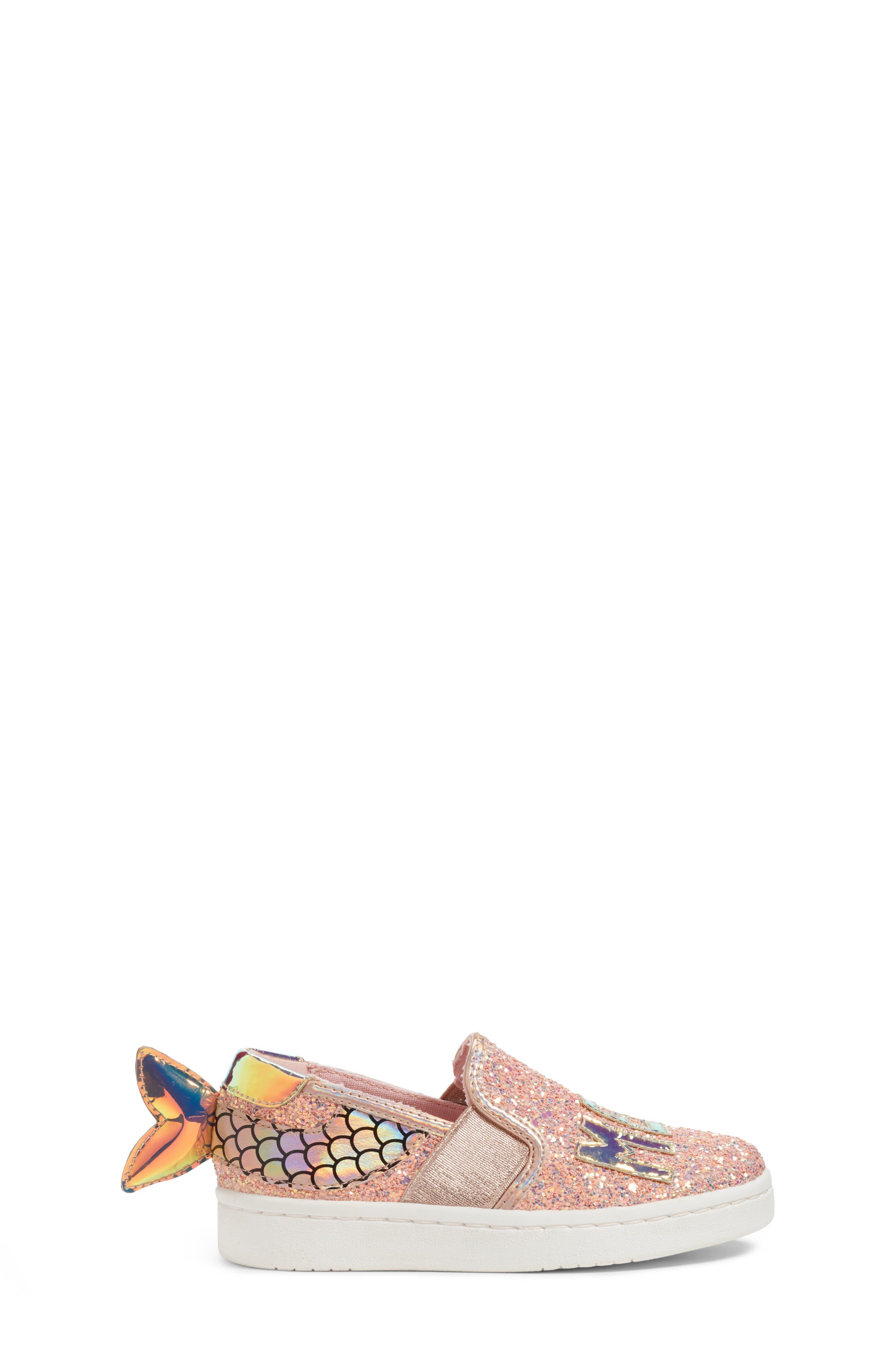 Blane Mermaid Sneaker,                             Alternate thumbnail 4, color,                             Pale Rose Gold Glitter