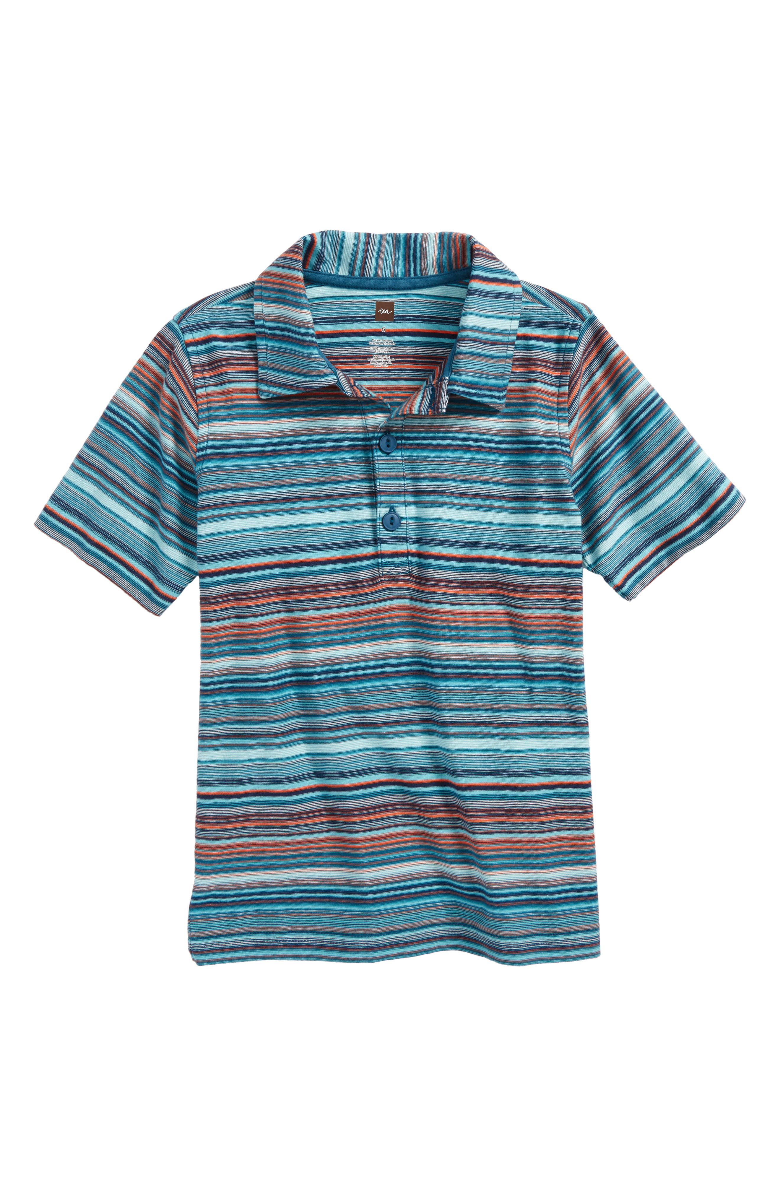 Stripe Polo,                             Main thumbnail 1, color,                             Pagoda Blue